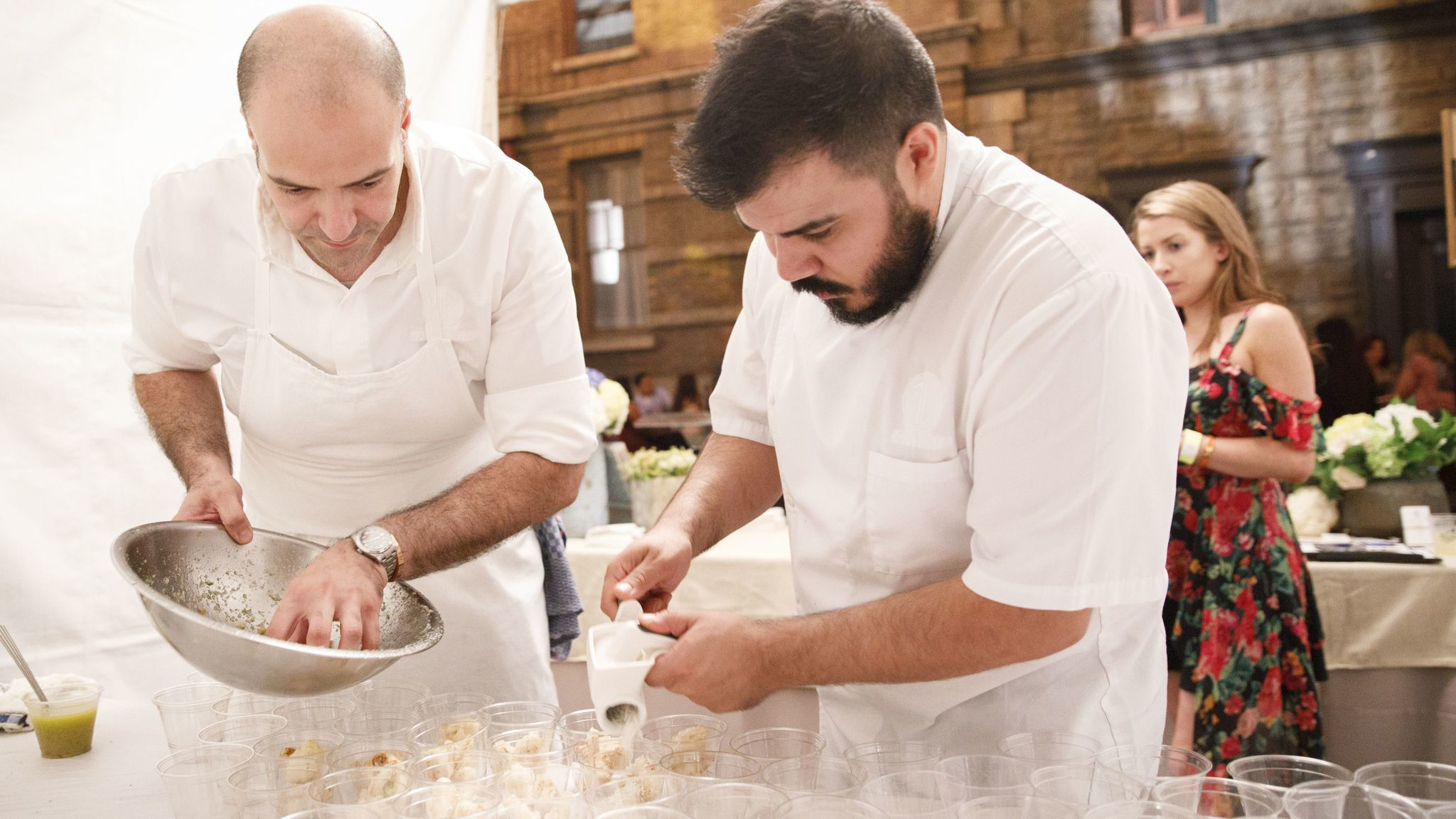 Vartan Abgaryan, executive chef, left, and Javier Lopez, chef de cuisine, of 71 Above, prepare crisp