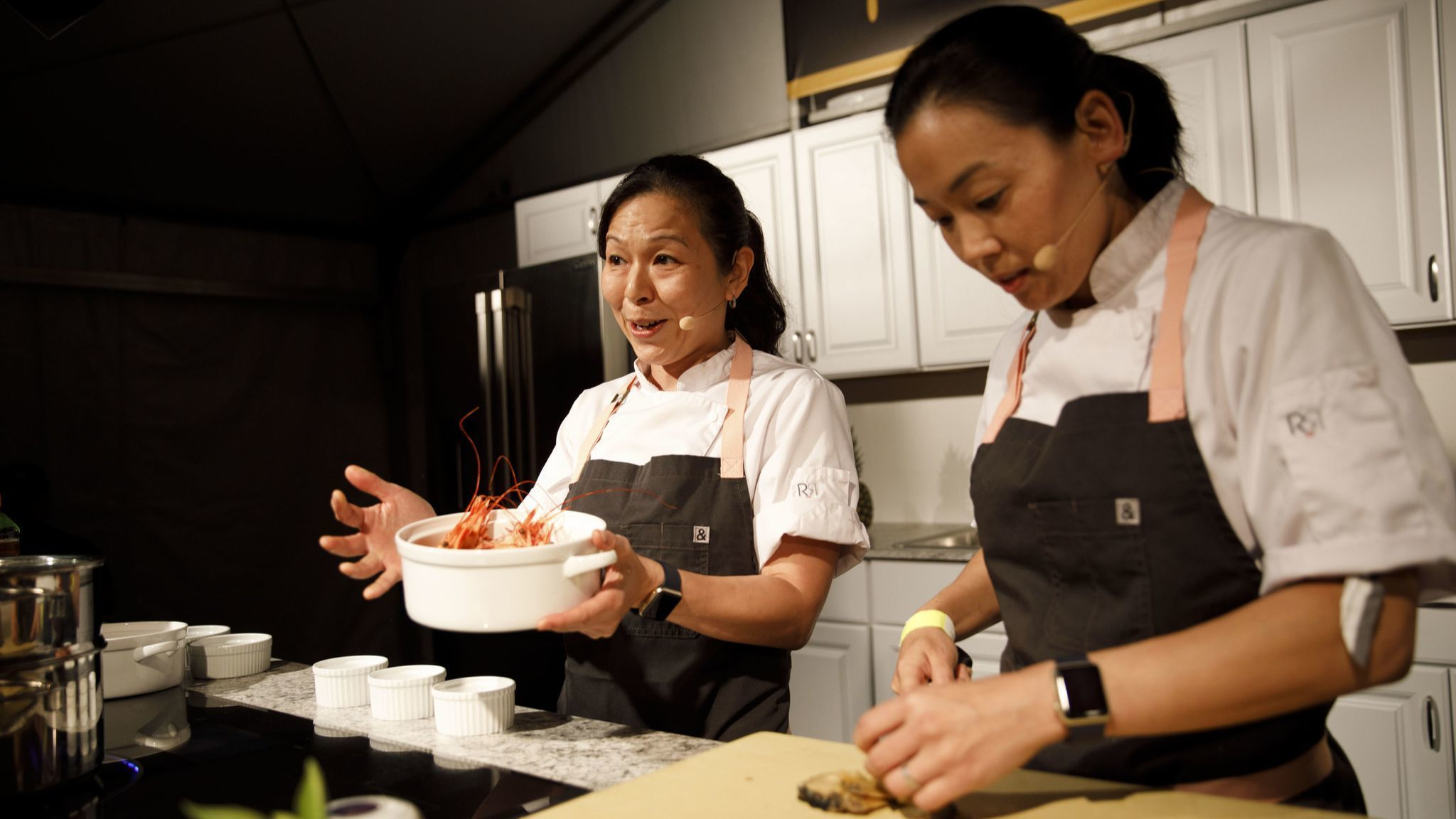 Niki Nakayama and Carole Lida-Nakayama of n/naka present on the culinary stage during The Taste on t
