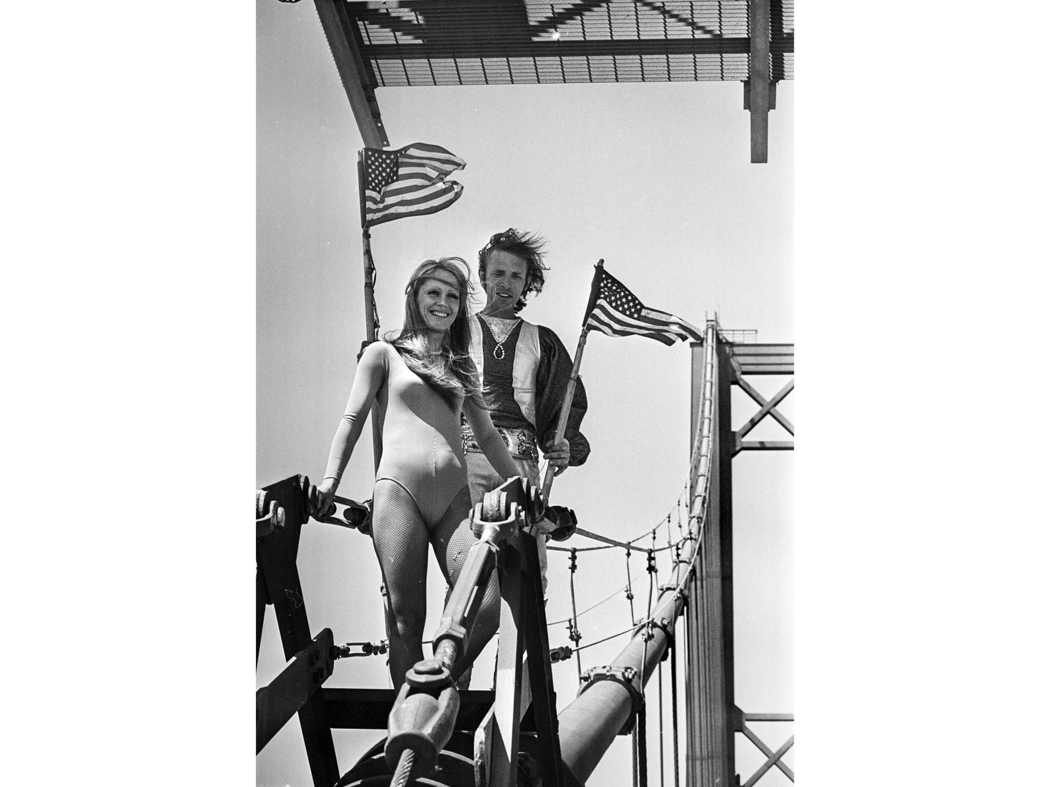 April 2, 1976: Tightrope-walker Steve McPeak, right, and his Celeste Farr, just after they crossed t