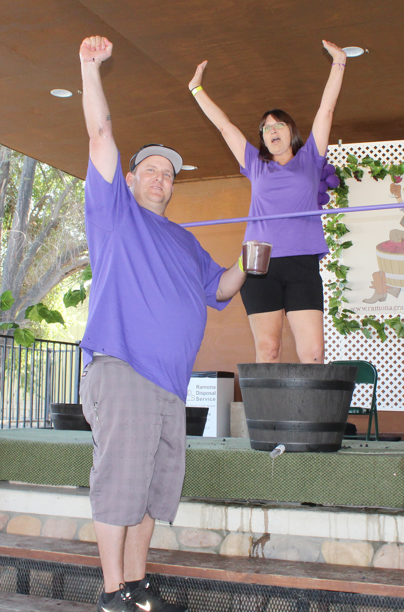 Toe Jammers team members Lane Yule and Lora Cicalo are the 2017 Ramona Grape Stomp Champions.