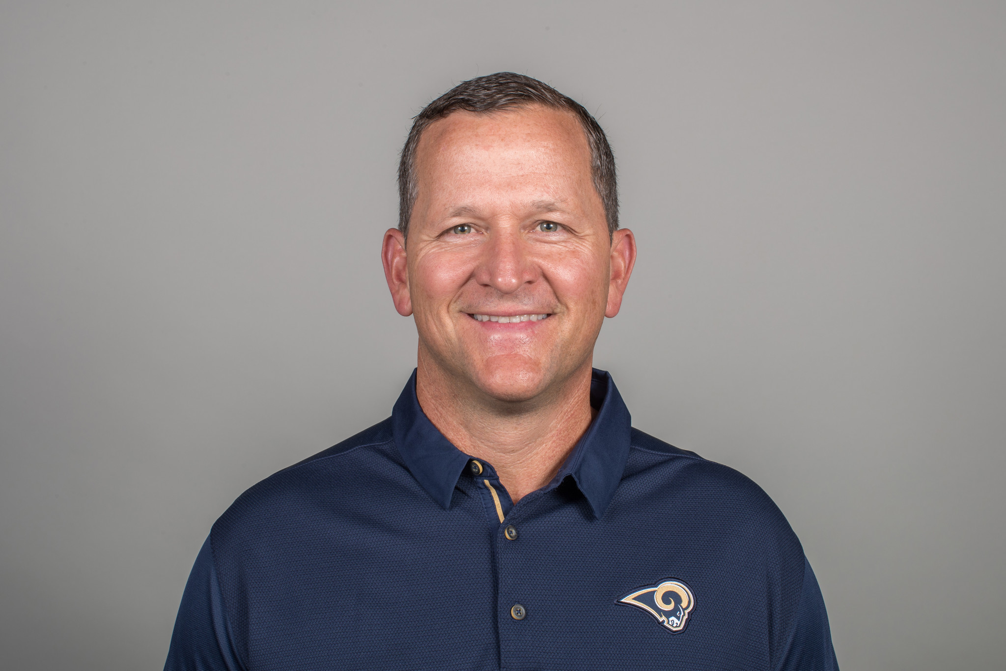 Joe Barry of the Los Angeles Rams headshot, Thursday, April 26, 2018, in Thousand Oaks, CA. (Jeff Le