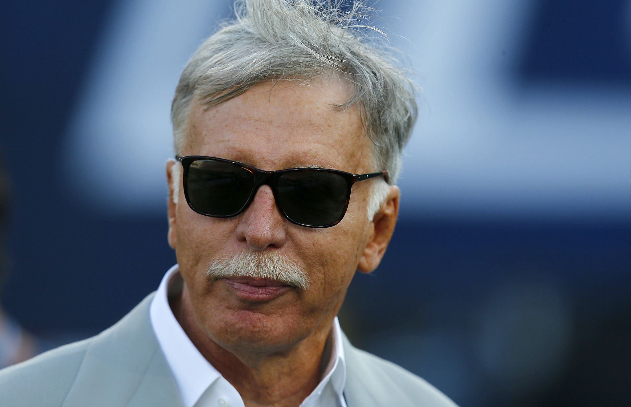 LOS ANGELES, CALIF. - AUG. 20, 2016. Rams owner Stan Kroenke watches his team warm up before the gam