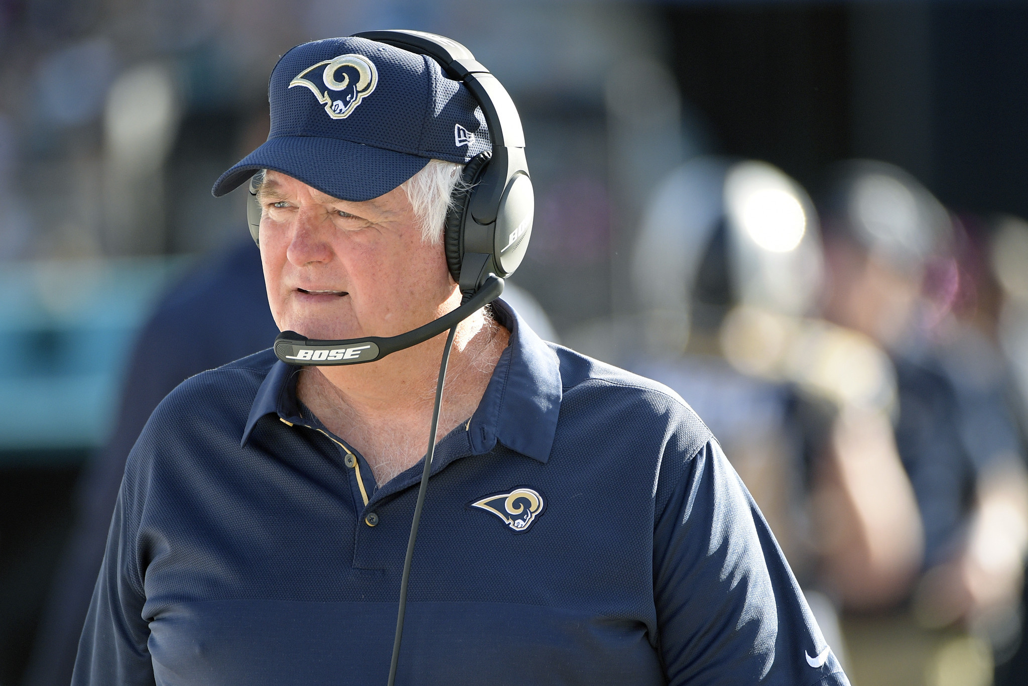 FILE - In this Oct. 15, 2017, file phtoo, Los Angeles Rams defensive coordinator Wade Phillips watch