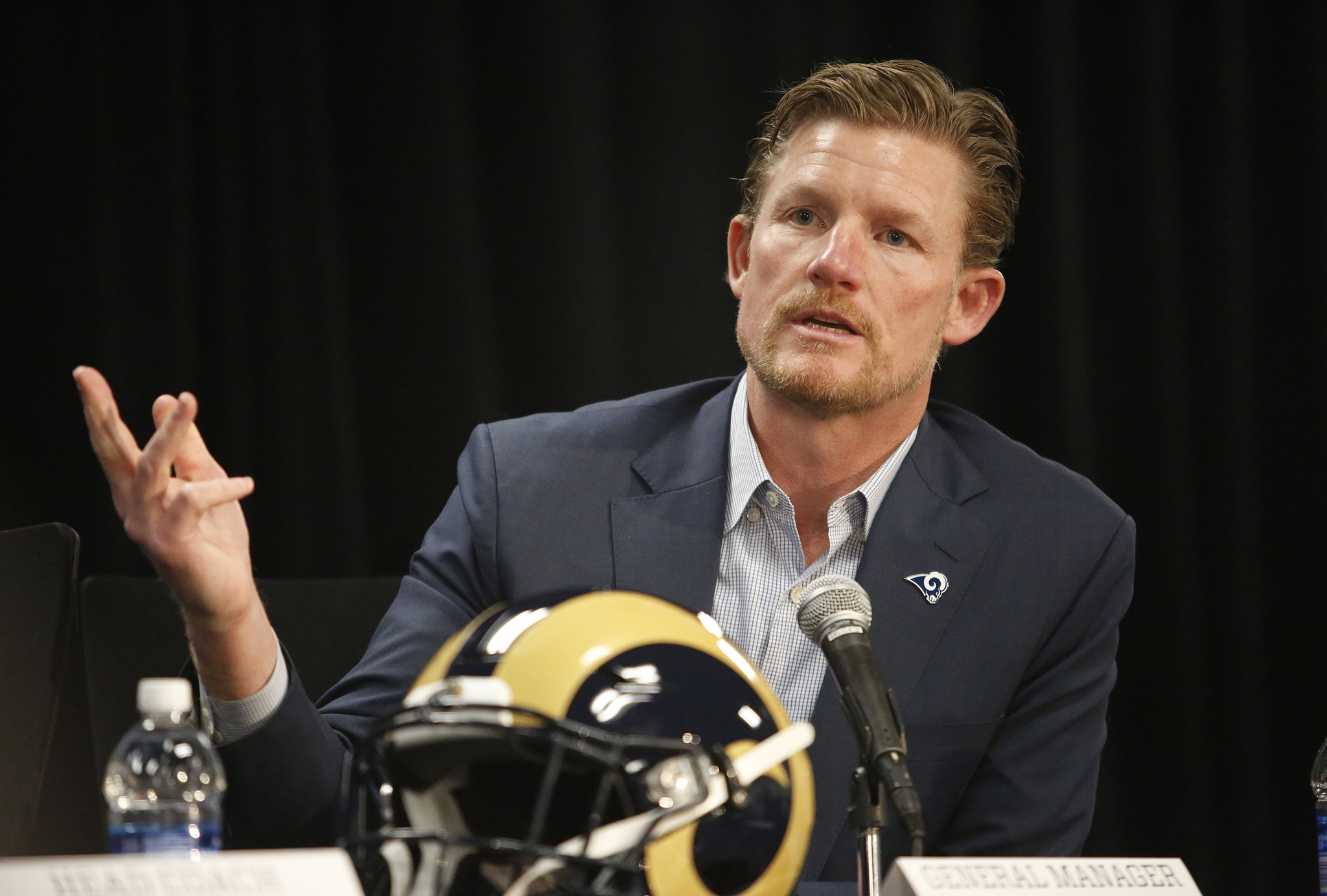 THOUSAND OAKS, CA - JANUARY 13, 2017 - Rams General Manager Les Snead talks about Sean McVay the ne