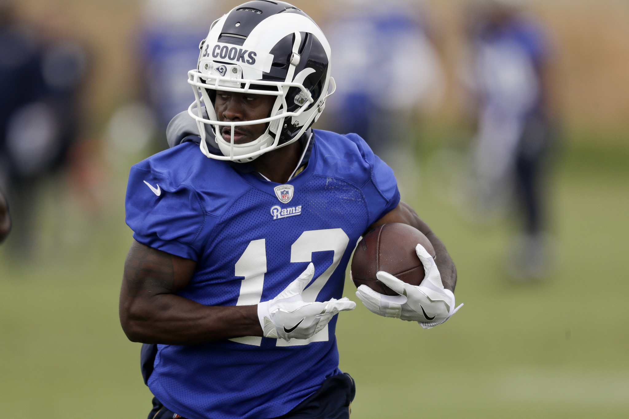 FILE - In this Monday, May 21, 2018 file photo,Los Angeles Rams' Brandin Cooks trains during a foot