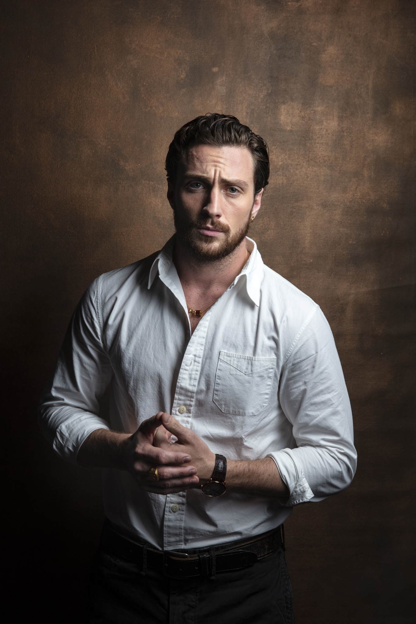 "TORONTO, ONT. — SEPTEMBER 07, 2018-- Aaron Taylor-Johnson from the film, ""Outlaw King,"" photographe"