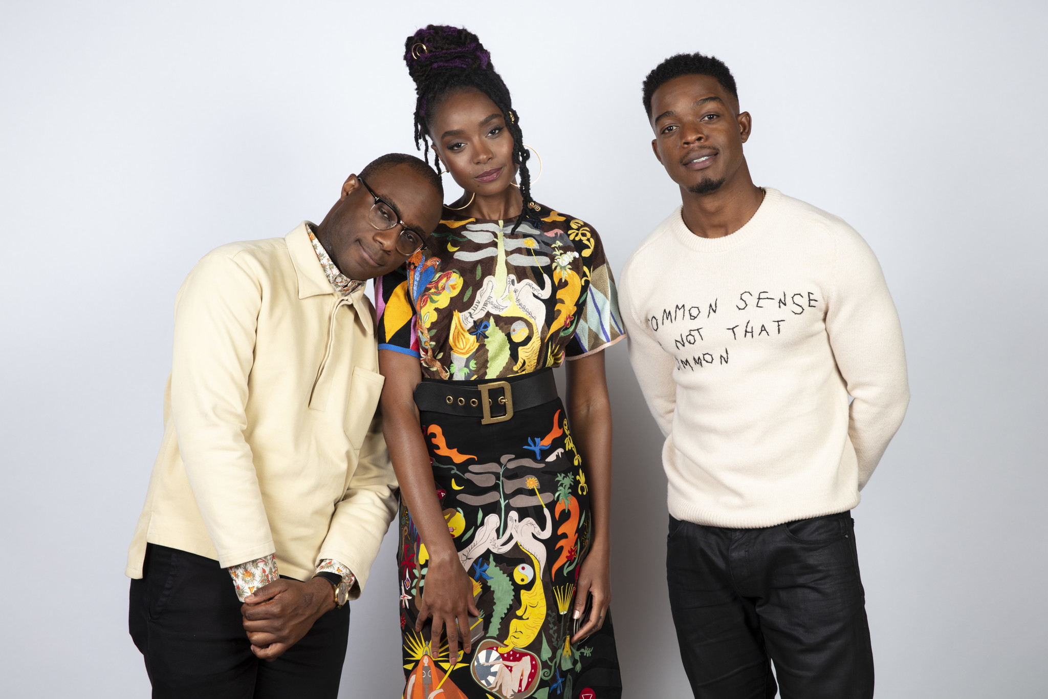 TORONTO, ONT. — SEPTEMBER 08, 2018-- Director Barry Jenkins, actress Kiki Layne, and actor Stephan