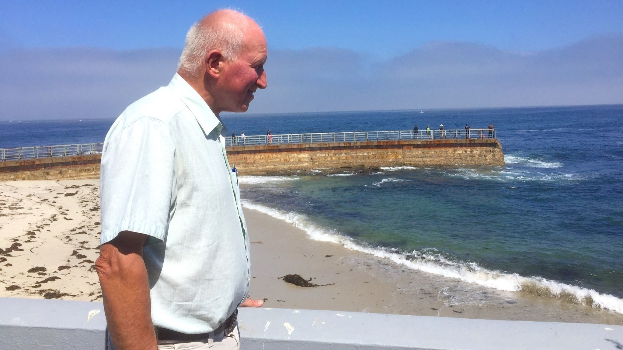 Mugford enjoys watching seals frolic in the ocean off the Children's Pool.