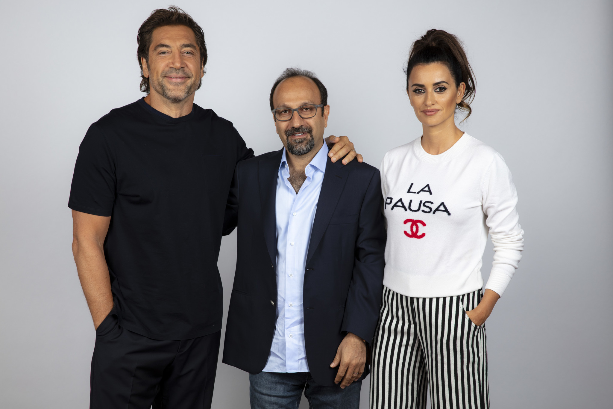 TORONTO, ONT., CA — SEPTEMBER 09, 2018-- Actor Javier Bardem, director Asghar Farhadi, and actress
