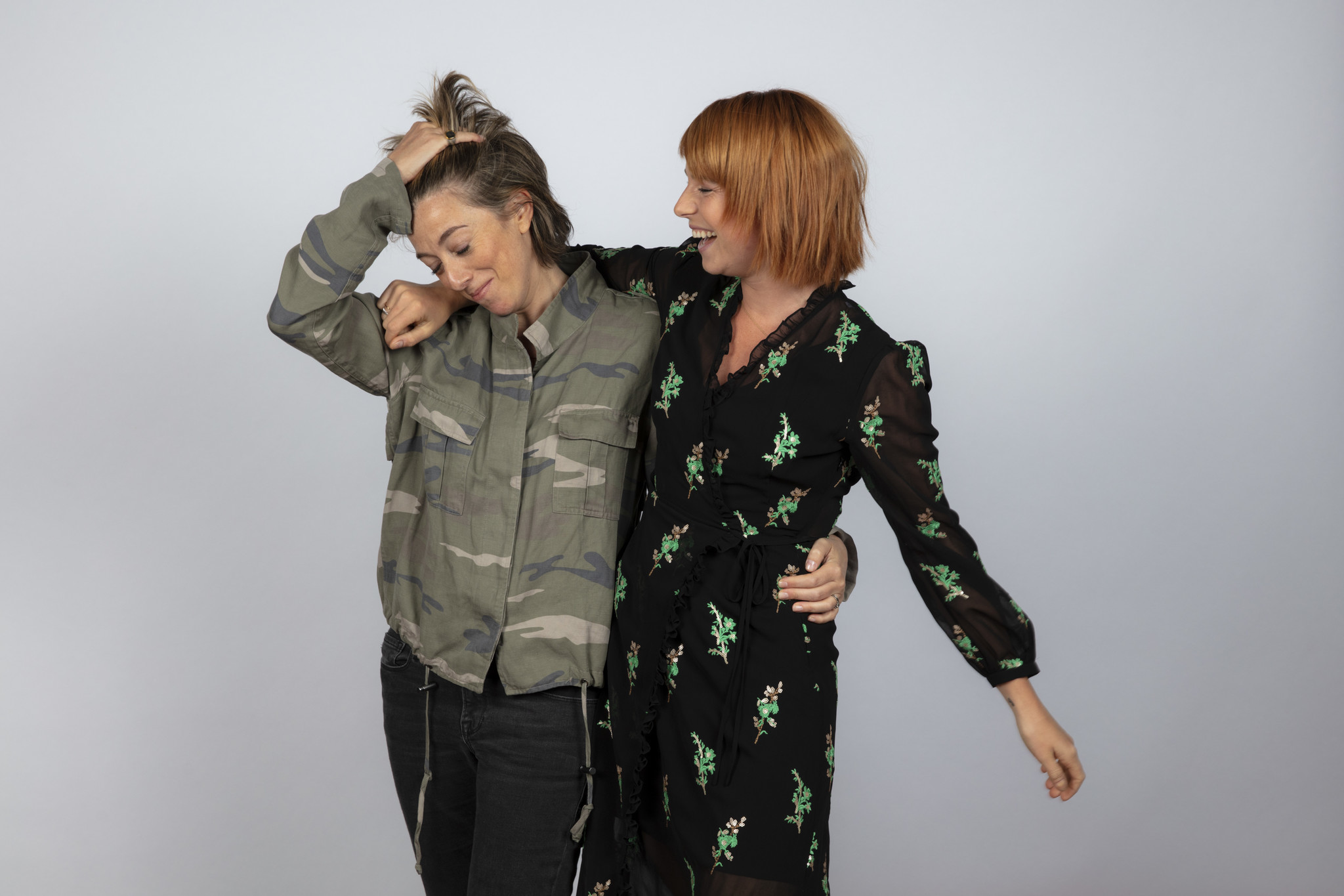 TORONTO, ONT., CA — SEPTEMBER 09, 2018-- Writer Nicole Taylor, and actress Jessie Buckley, from the