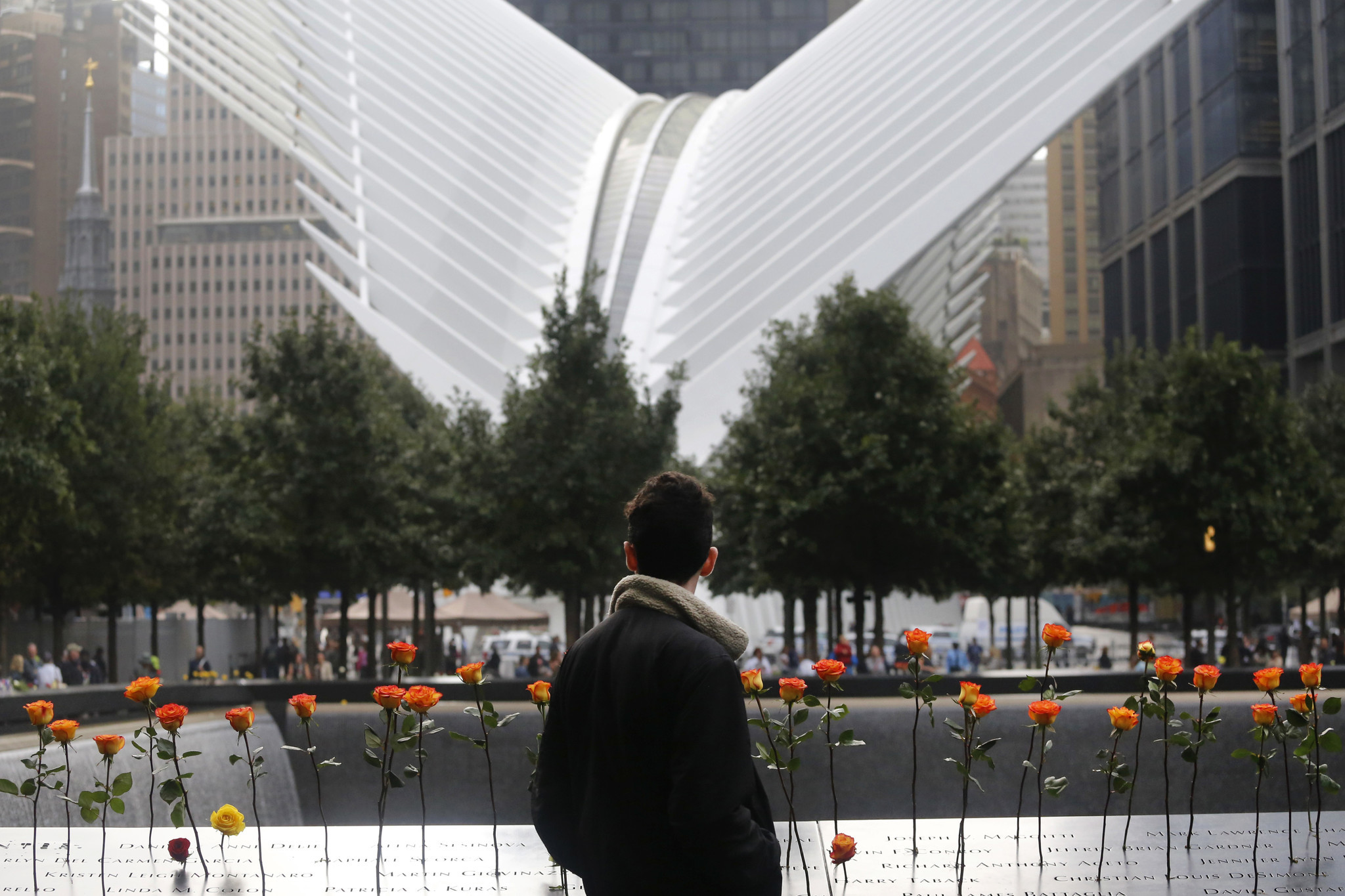 A man looks at the North Pool at the World Trade Center during a ceremony marking the 17th anniversa