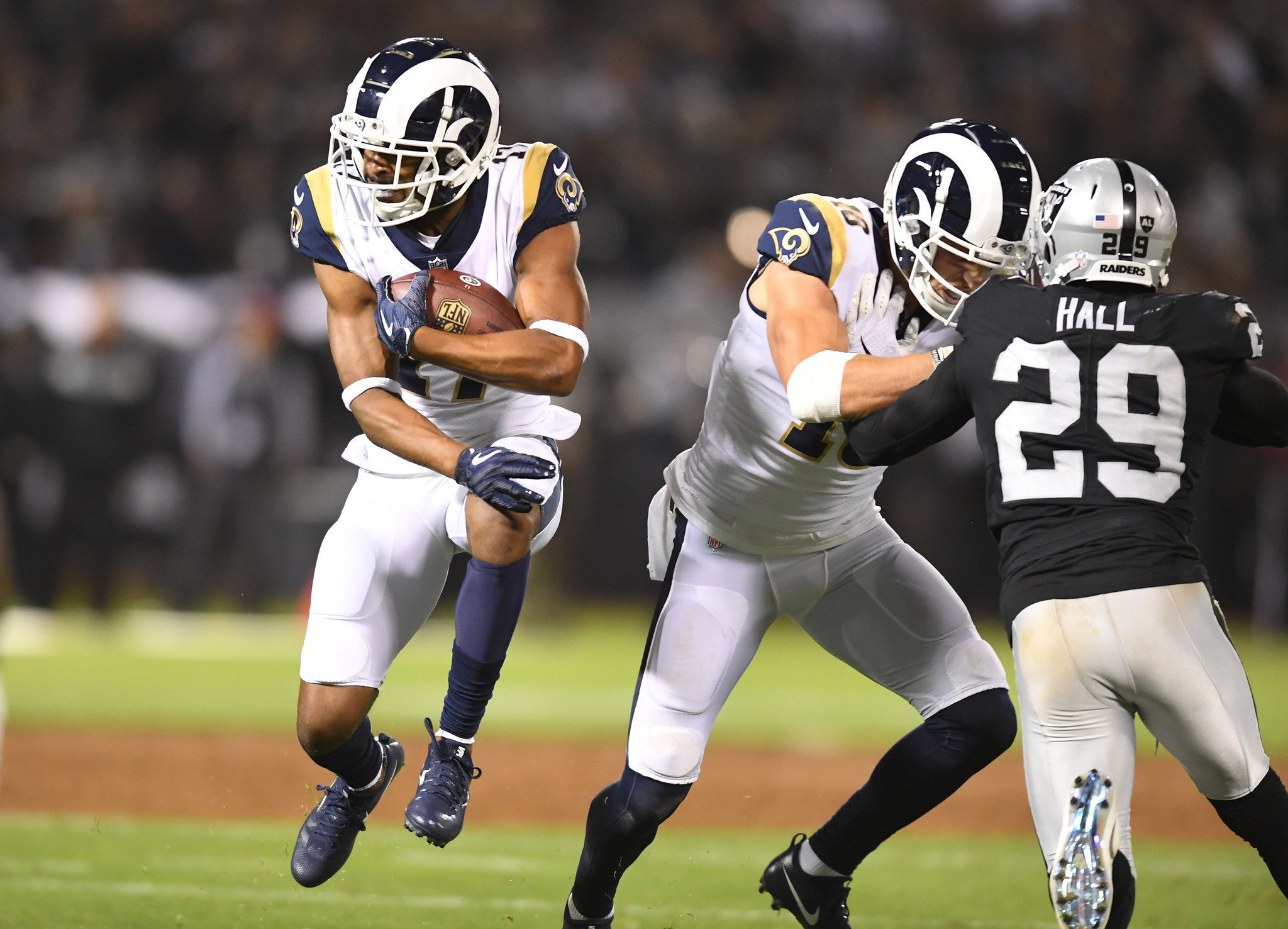 OAKLAND, CALIFORNIA SEPTEMBER 10, 2018-Rams receiver Robert Woods carries the ball against the Raide