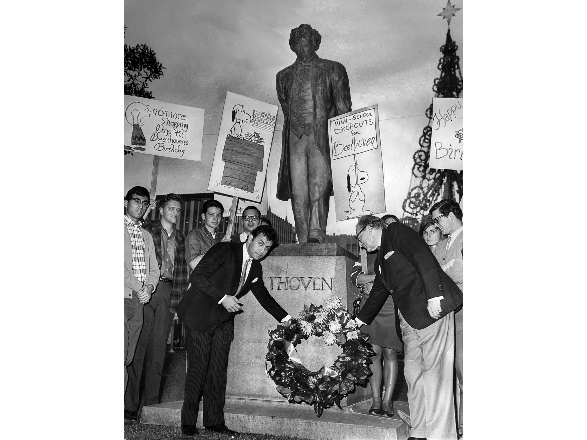 Dec. 16, 1966: Students armed with signs inspired by the comic strip Peanuts marched on Pershing Squ