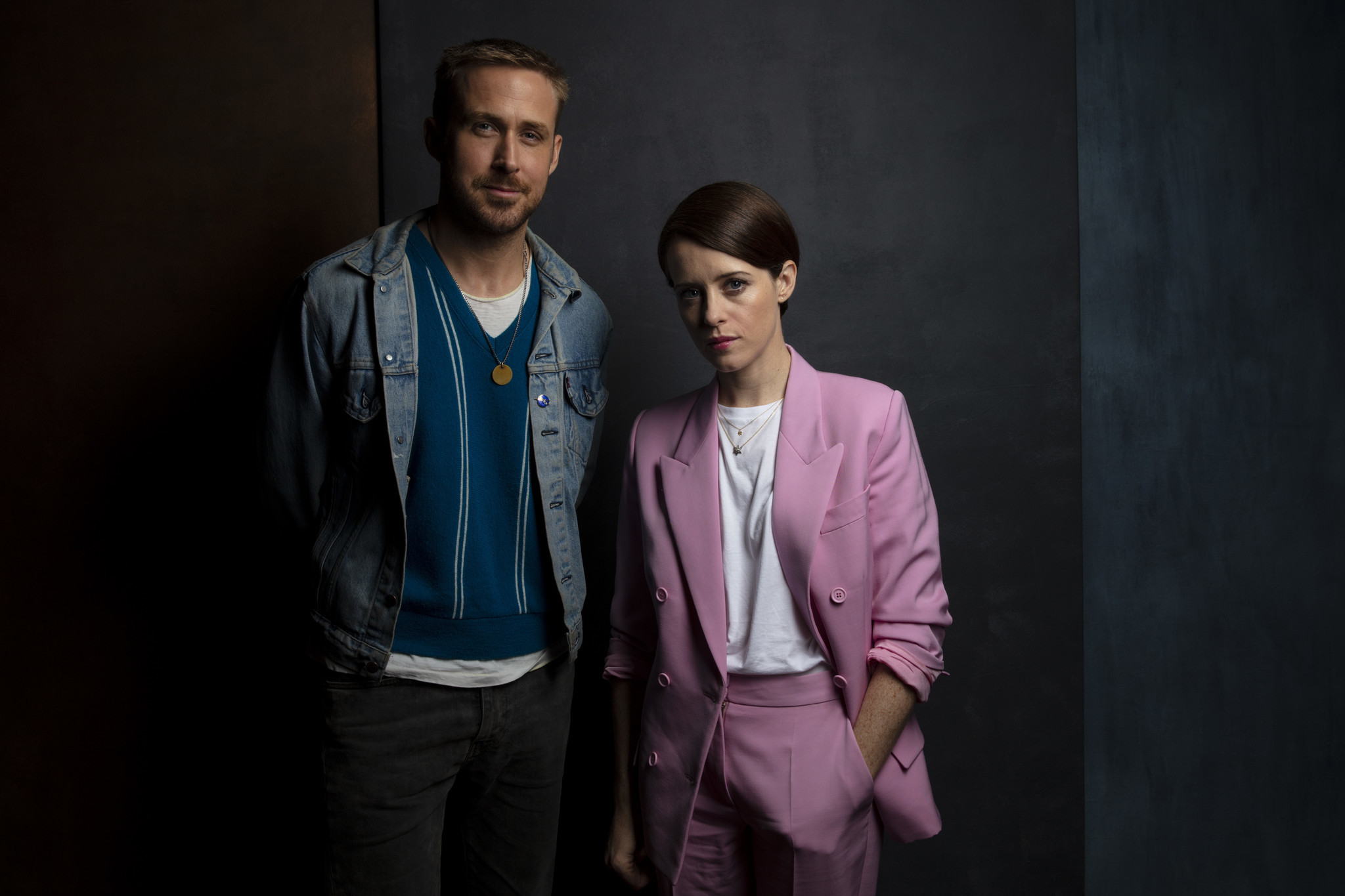 "TORONTO, ONT., CA — SEPTEMBER 10, 2018-- Actor Ryan Gosling and actress Claire Foy, from ""First Man"