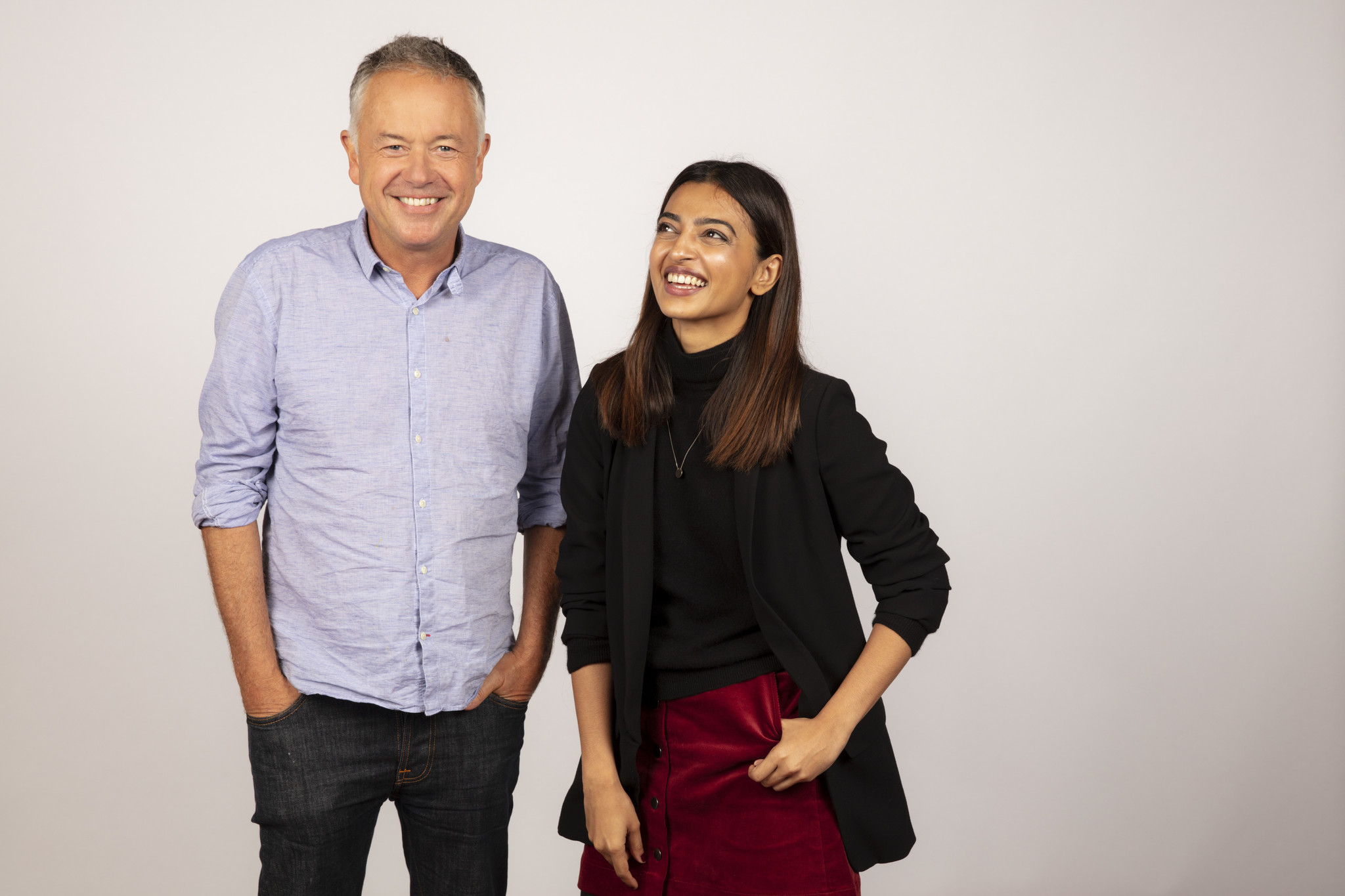 TORONTO, ONT., CA — SEPTEMBER 10, 2018-- Director Michael Winterbottom and actress Radhika Apte, fr