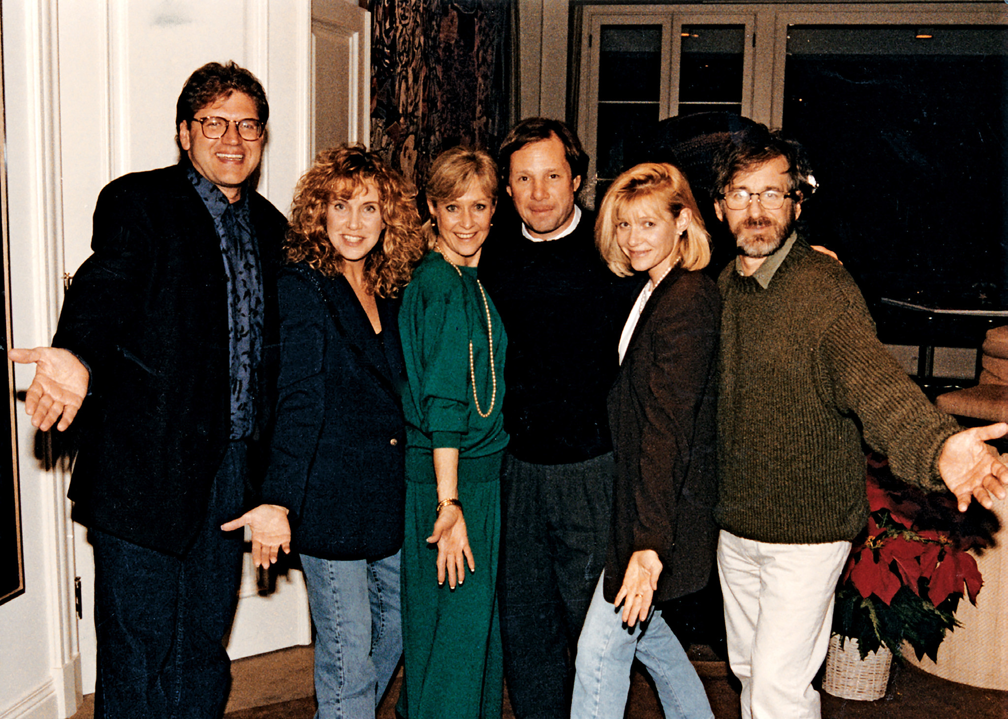 Judy and Mike Ovitz (center) with Robert and Mary Ellen Zemeckis (left) and Kate Capshaw and Steven Spielberg, celebrating nothing in particular.
