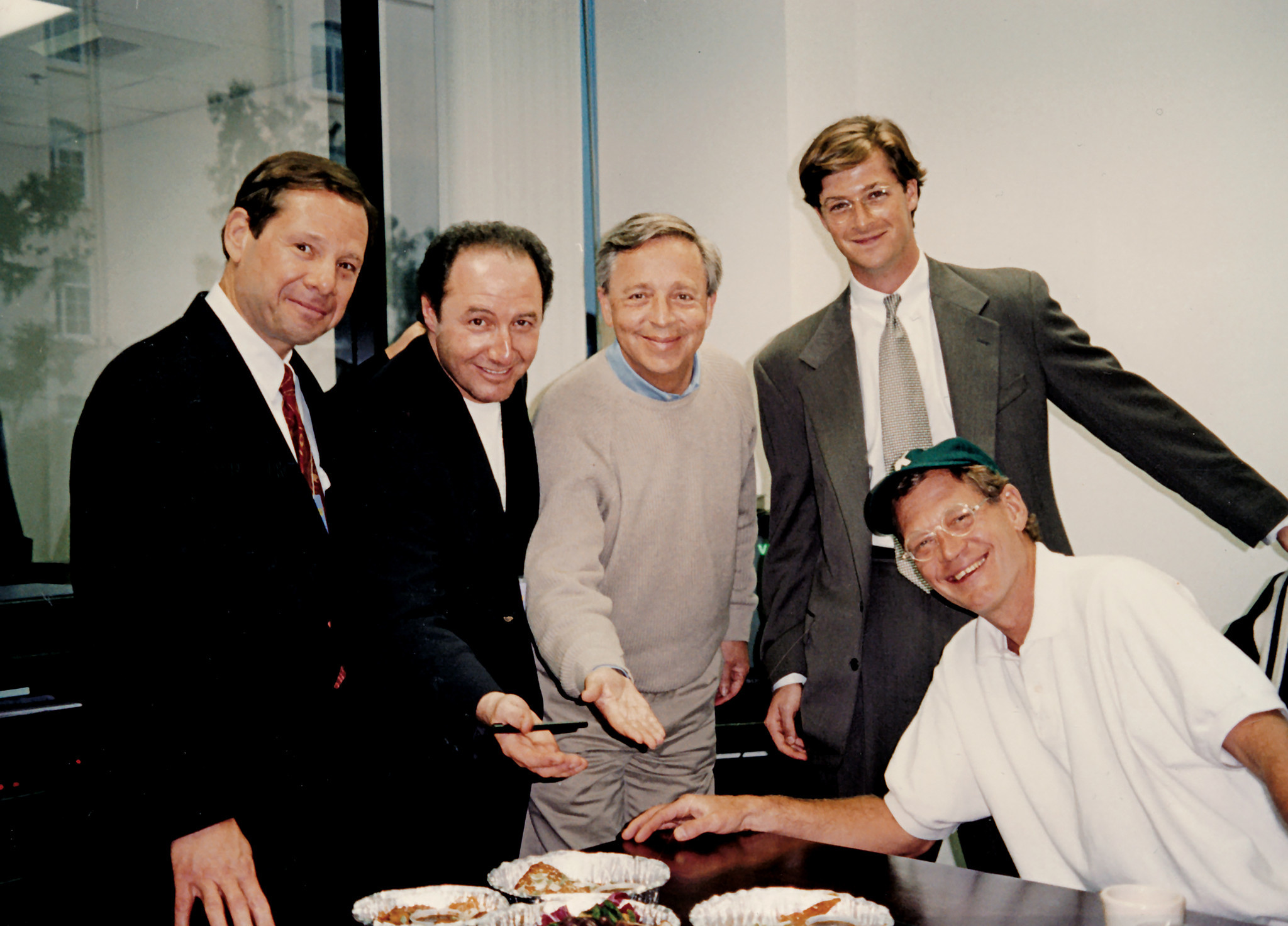 Mike Ovitz in David Letterman's new office at CBS after his deal closed. Ovitz, left, Robert Morton, Peter Lassally, Jay Maloney and Letterman.