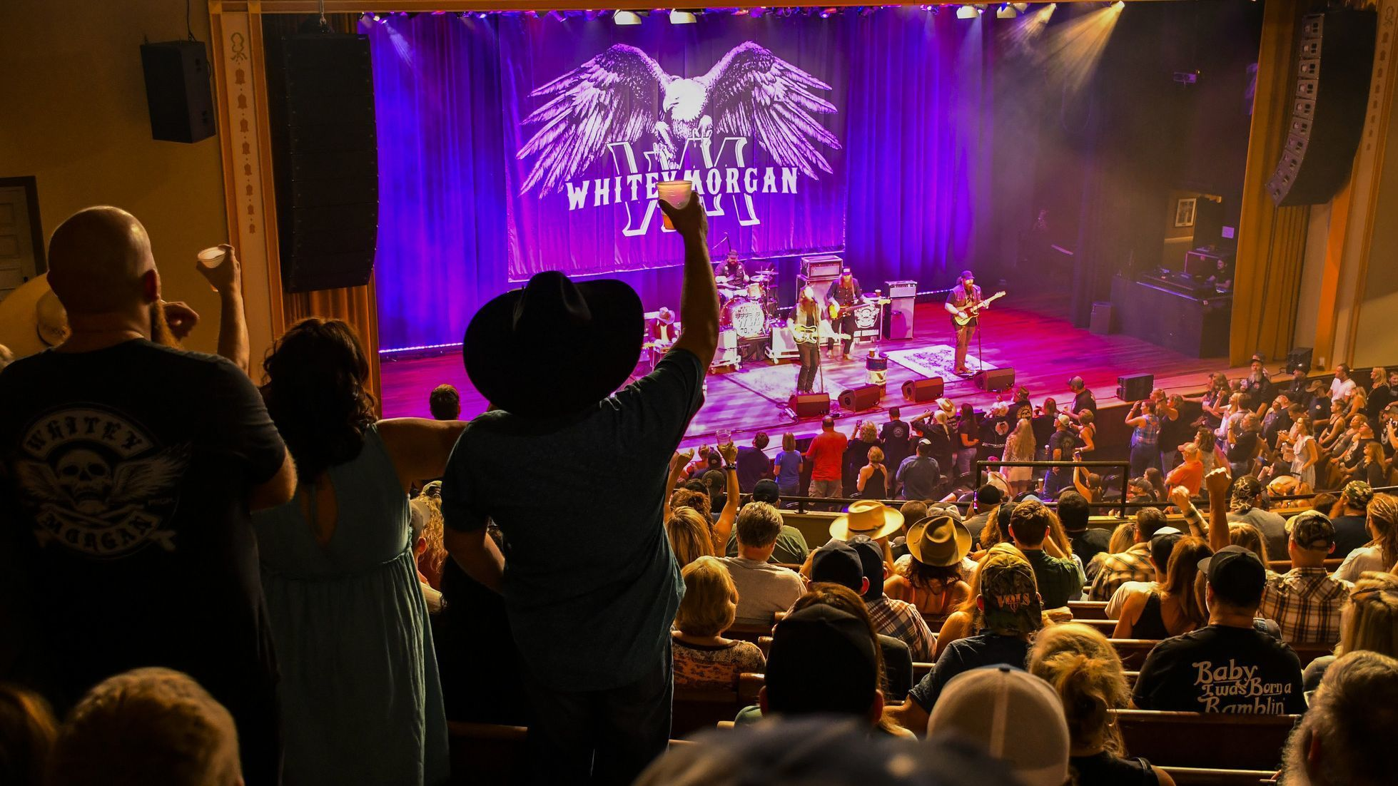 NASHVILLE, TN - Whitey Morgan and his band, the 78s, play Nashville's Ryman Auditorium.