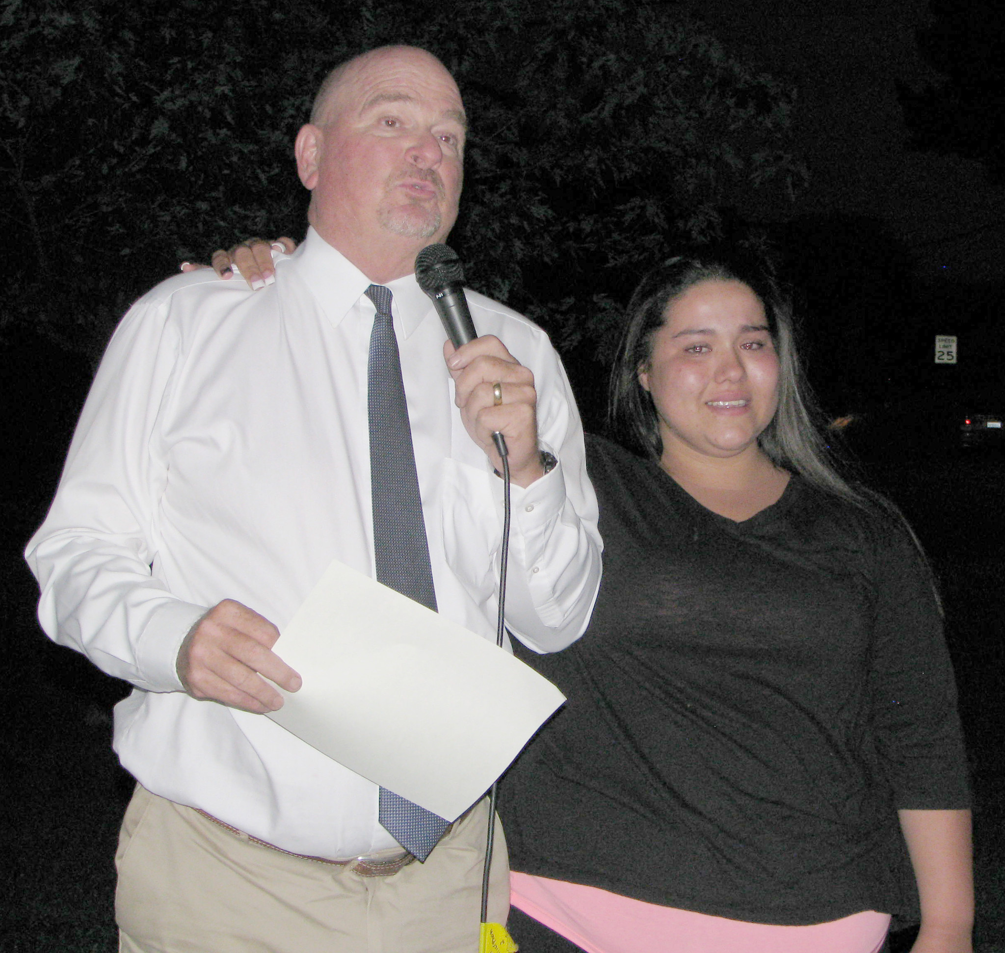 Principal Dave Lohman's words leave Montecito High School 2014 graduate Cierra Ramirez emotional as he tells the audience why Ramirez received the Most Insufferable Award.