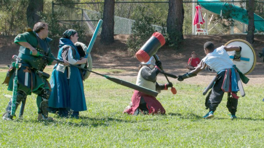 Participants in last year's Boy Scouts Camporee re-enact medieval knight battles. The competitions will be replicated Oct. 12-14 with Viking battles.