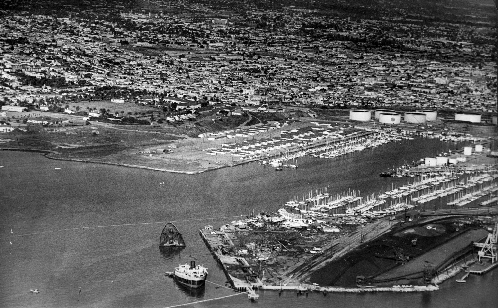 Dec. 18, 1976: Aerial photo of San Pedro with the destroyed oil tanker Sansinena in lower portion of