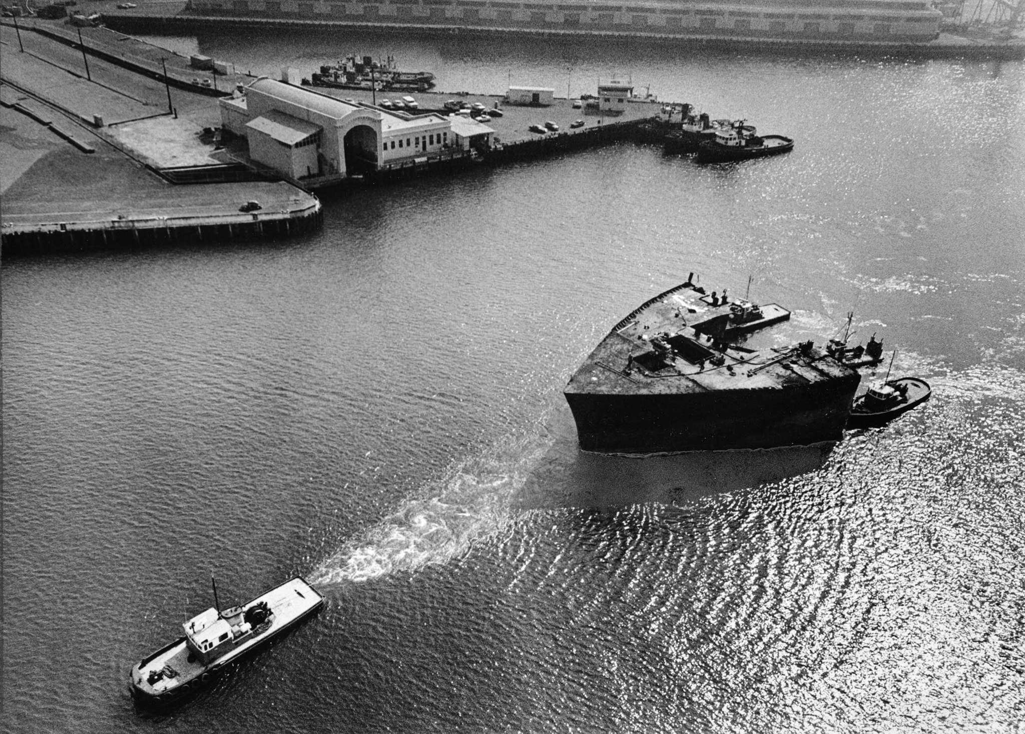 Feb. 19, 1977: The 1,217-ton bow section of the oil tanker Sansinena is towed to a Terminal Island s