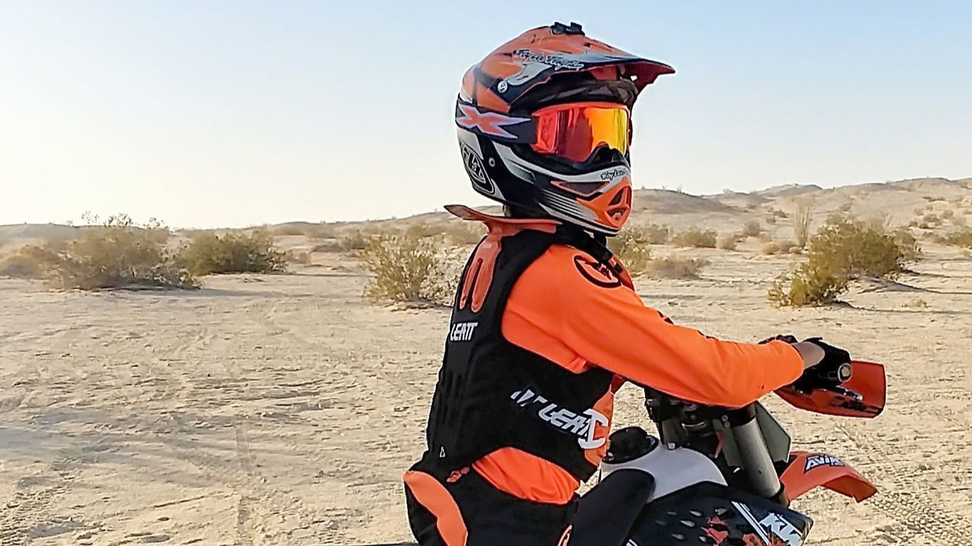 Colton Hagler enjoys riding dirt bikes in the desert at Ocotillo Wells in addition to scootering, surfing and tap dancing.