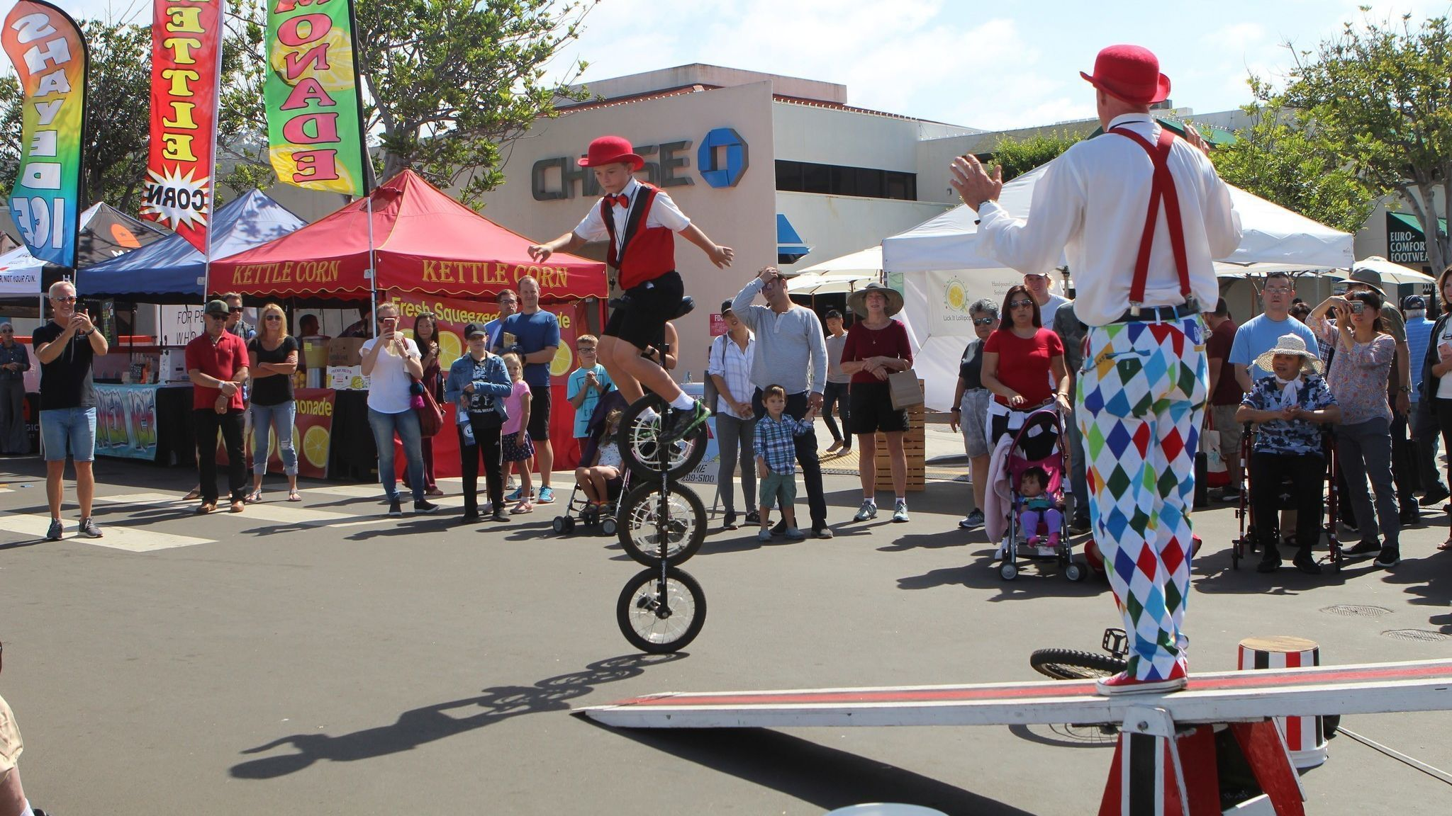 Circus performers and Santee residents Ron Lindley and his 8-year-old son, Colin, wow the crowd.