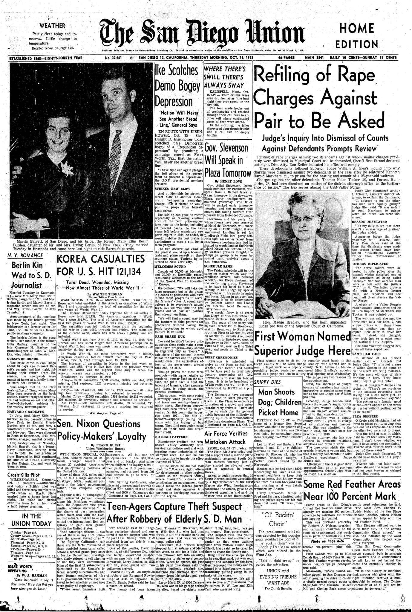 October  16, 1952