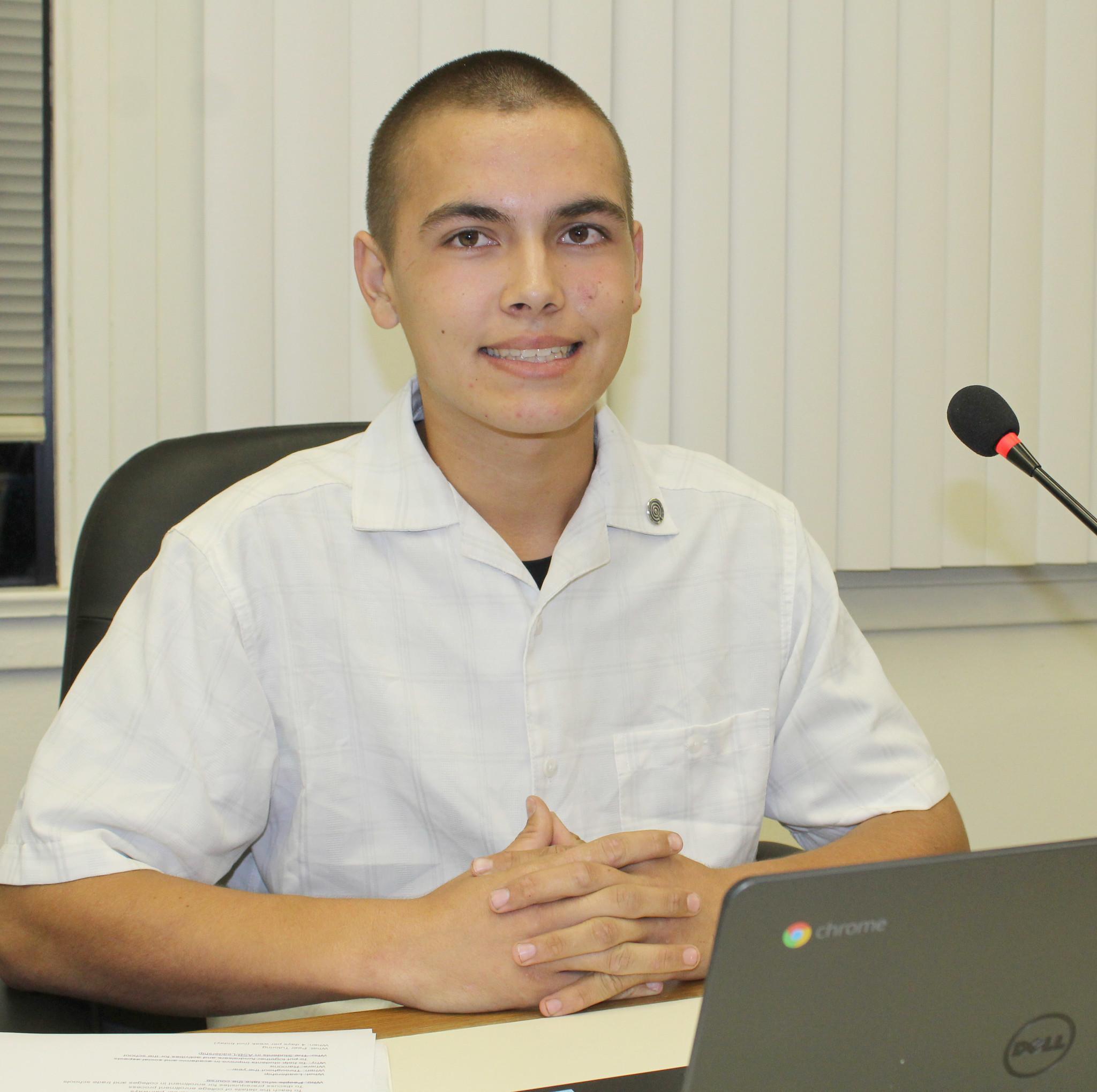 Montecito High School junior Michael Caparas represents his school at Ramona Unified board meetings.