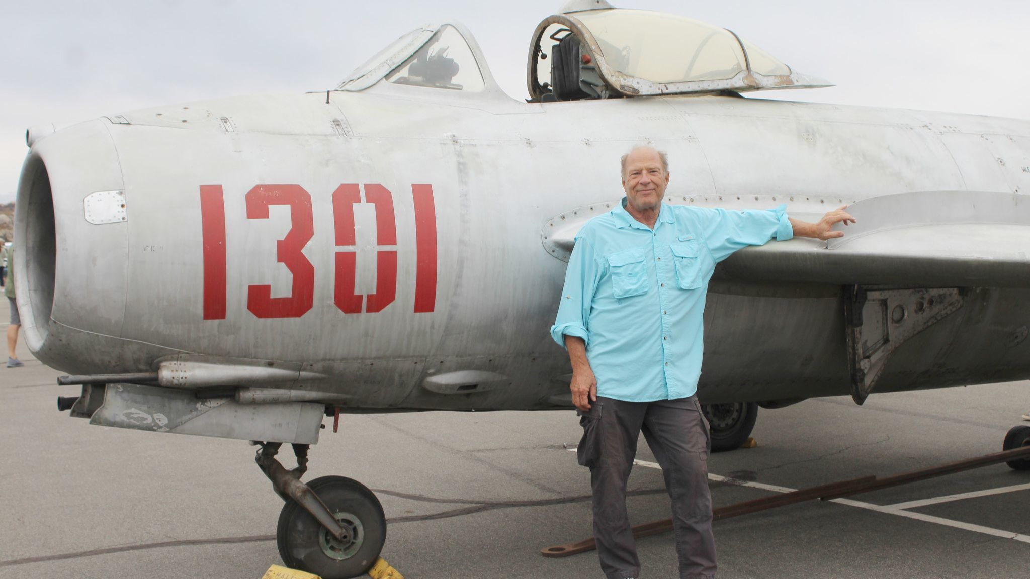Bill Bourque displays a 1958 MiG-17 high-subsonic fighter aircraft at the Ramona Air Fair & Fly-in. The Russian aircraft flew throughout Europe in its heyday.