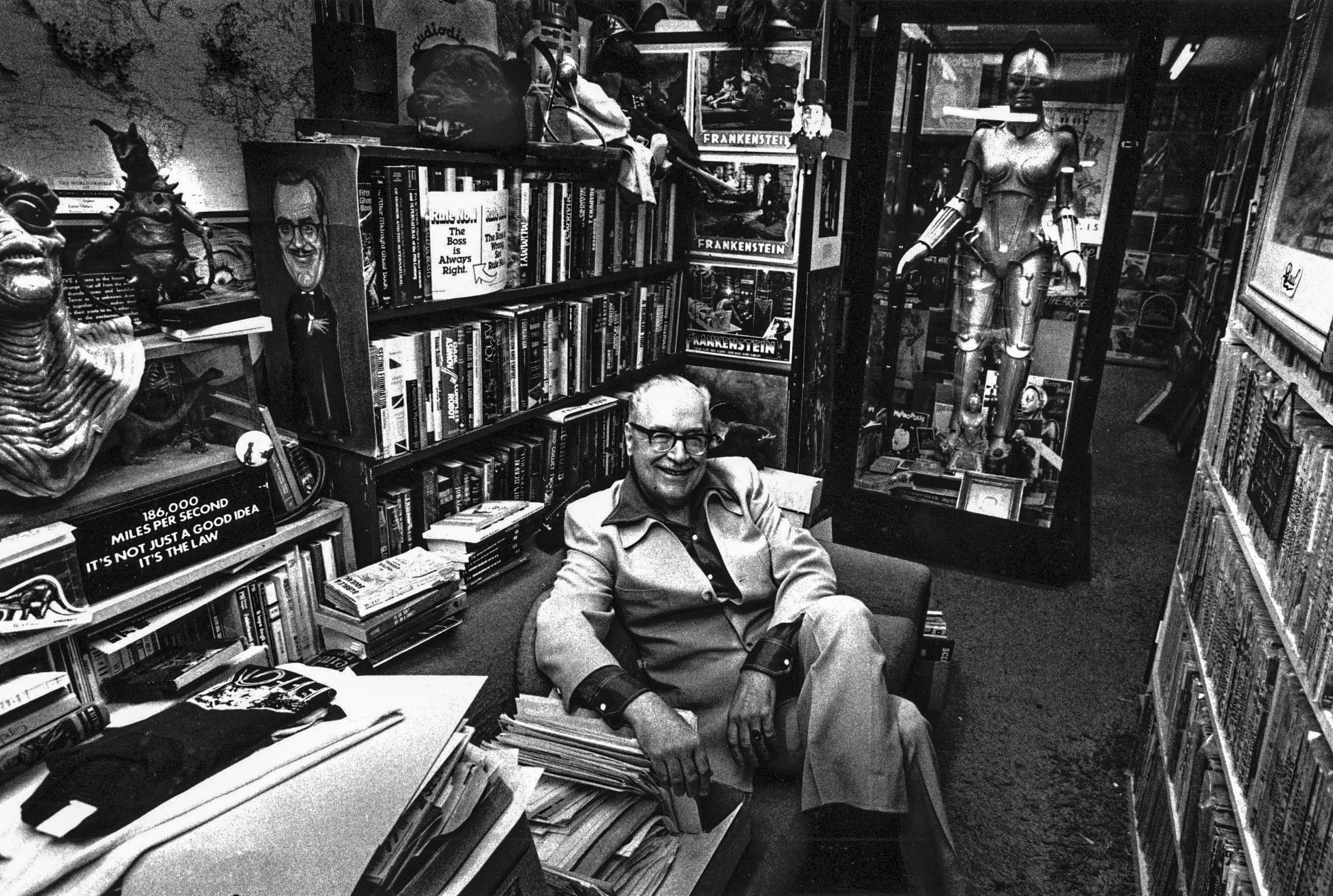 Oct. 1985: Forrest J. Ackerman of Los Feliz has a collection of 300,000 science fiction items in his