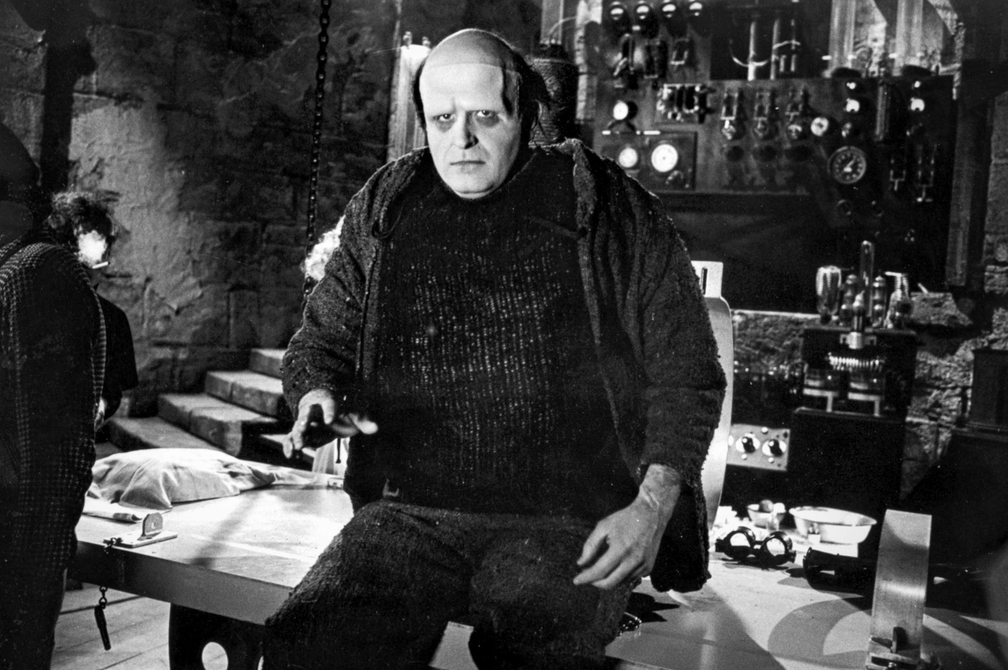 March 27, 1974: Peter Boyle as the monster on the set of
