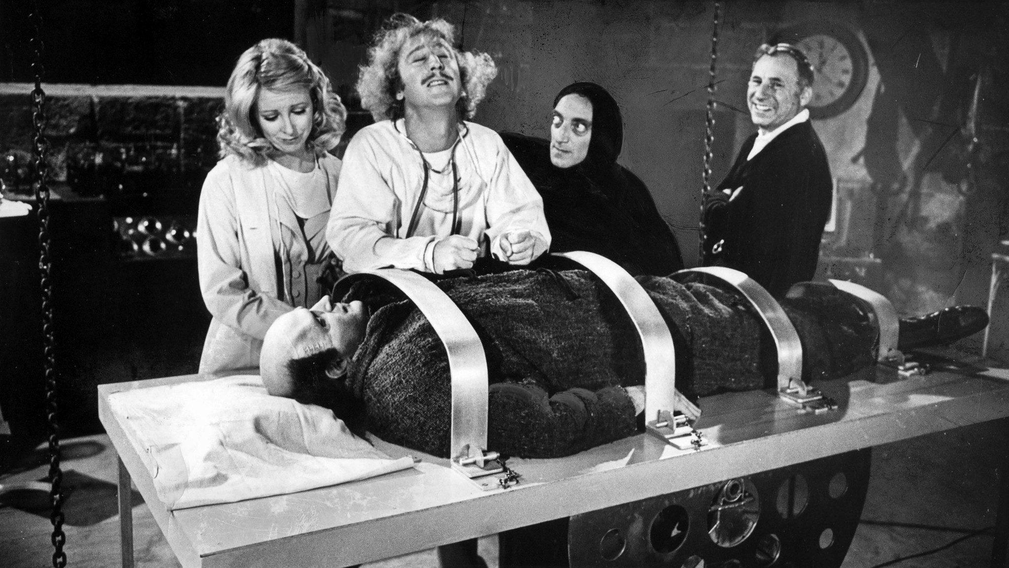 March 27, 1974: Image from the set of movie Young Frankenstein. From left: Teri Garr, Gene Wilder, M