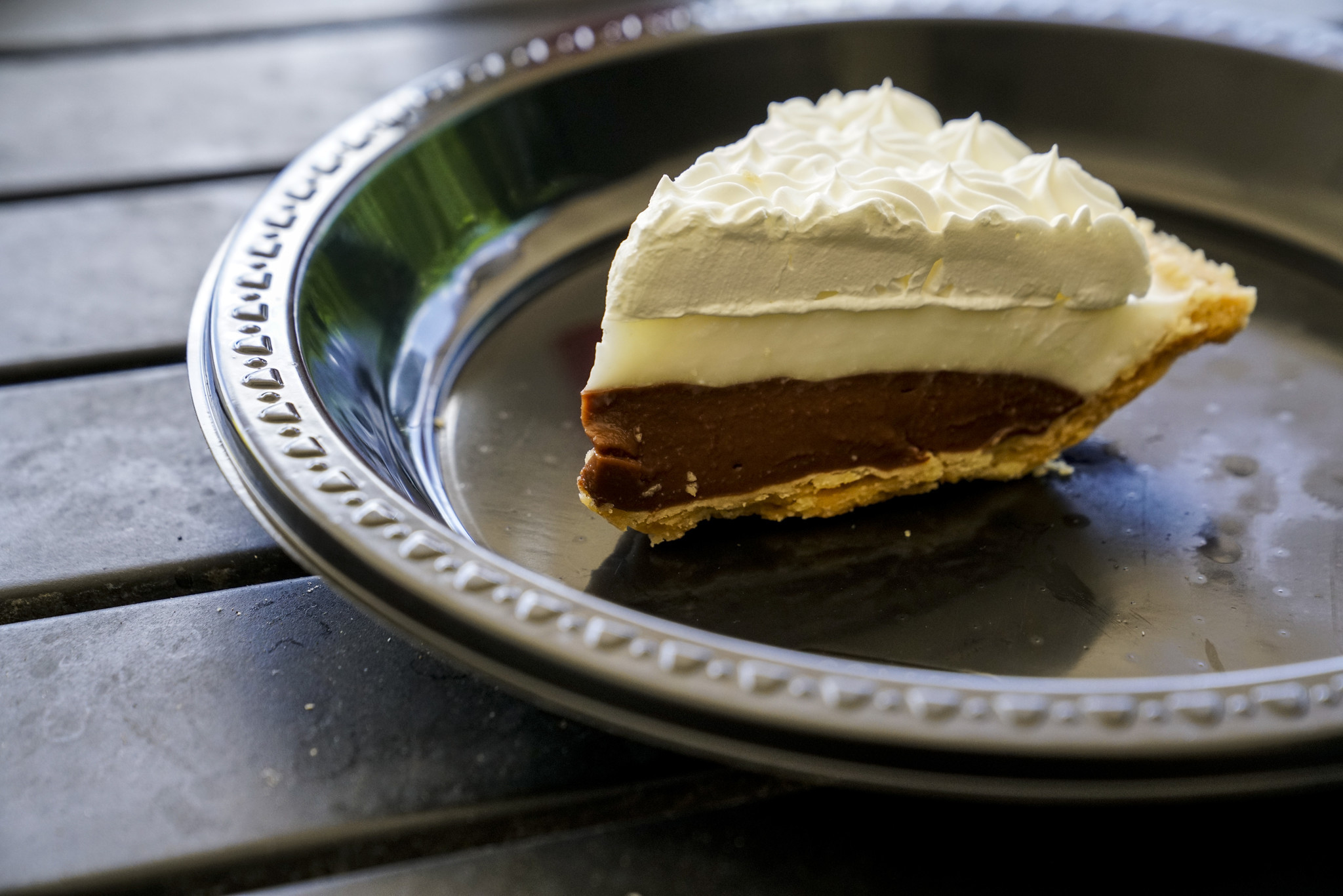 HALEIWA, HI - AUGUST 21: A slice of Chocolate Haupia Cream Pie, from Ted's Bakery, photographed on T