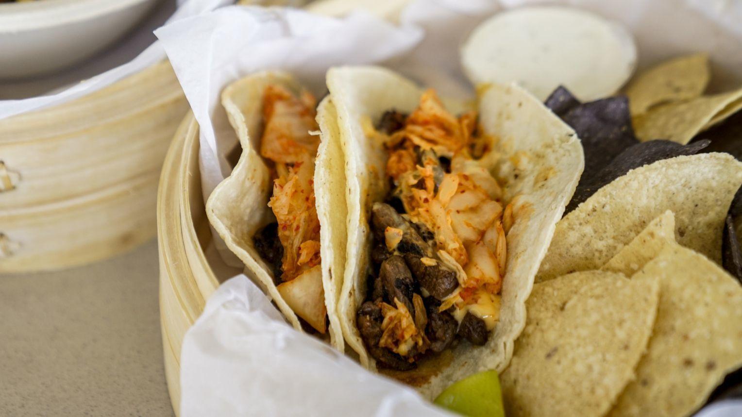 KAHUKU, HI - AUGUST 21: Short Rib tacos, Kal-bi style short rib, flour tortilla, smoked salsa verde,