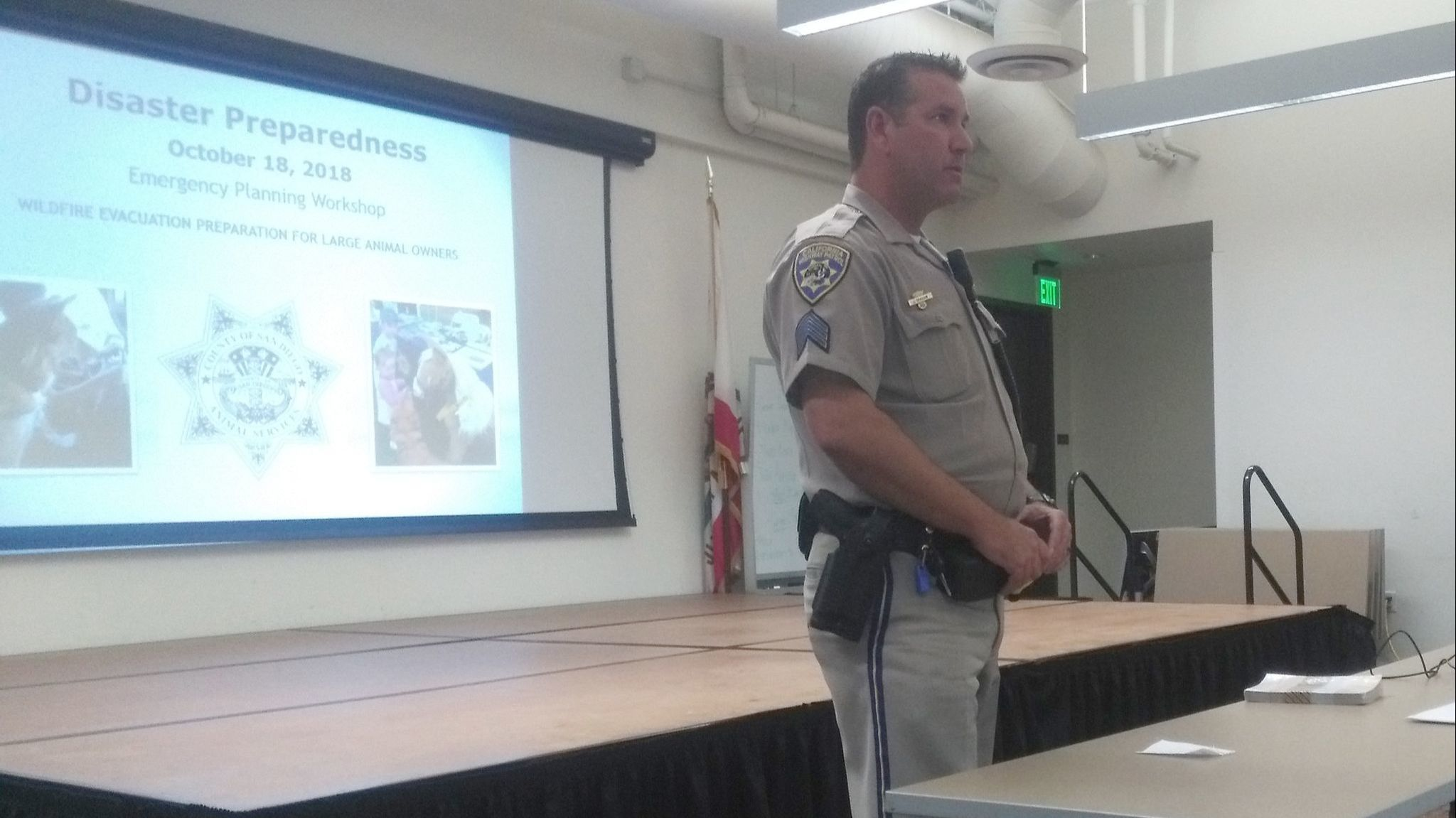 California Highway Patrol Sgt. Jason Graham encourages people to get familiar with evacuation routes on main roads and back roads to be prepared for a wildfire.