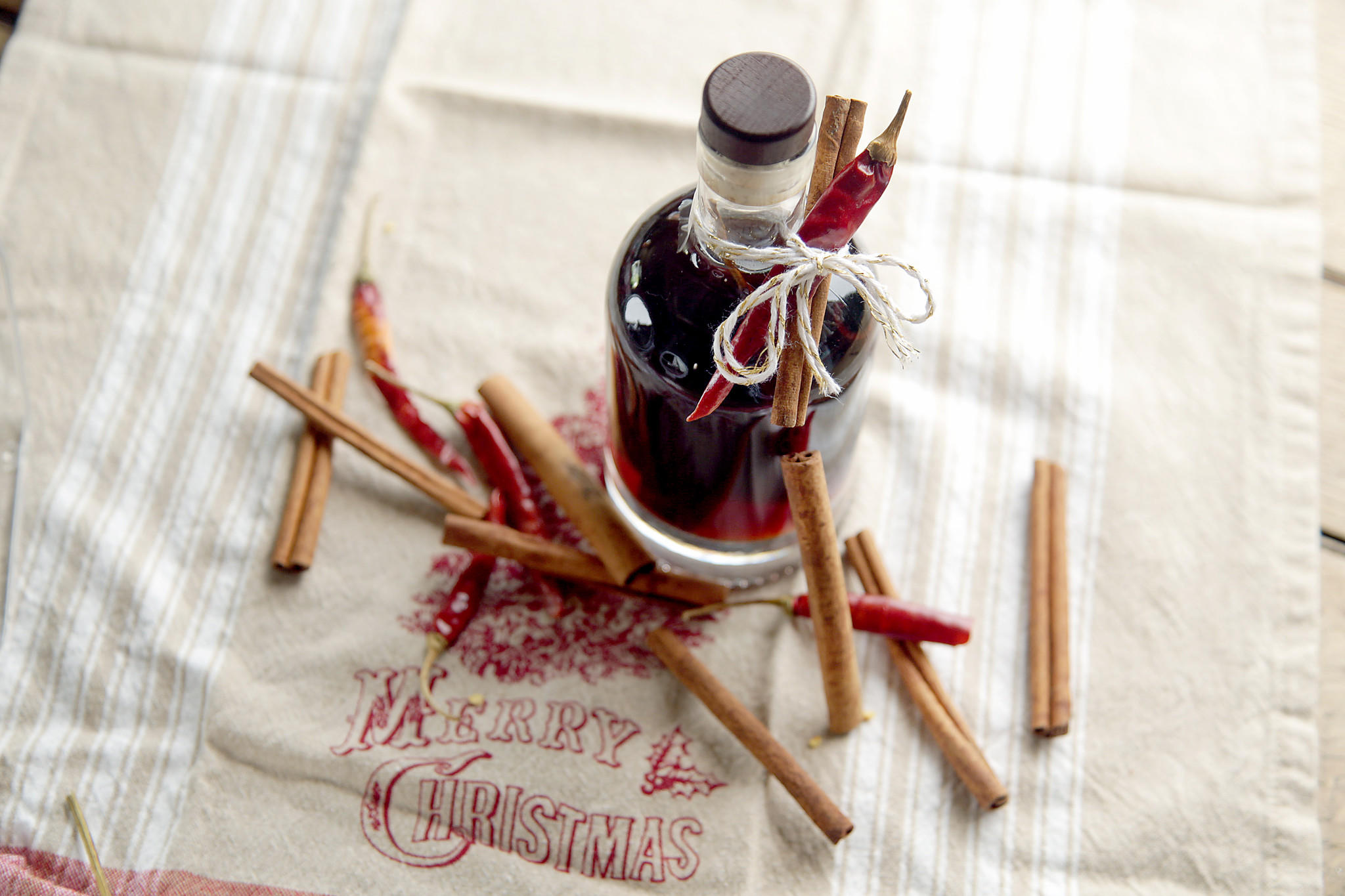 Homemade cinnamon-spiced whiskey