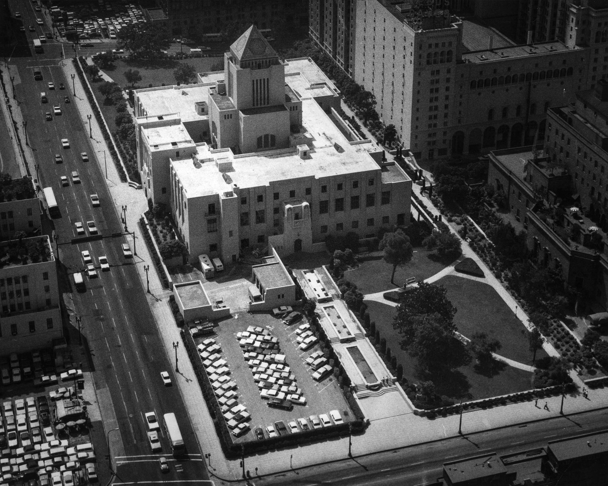 July 24, 1969: View of the Los Angeles Central Public Library taken from Union Bank Square. This pho