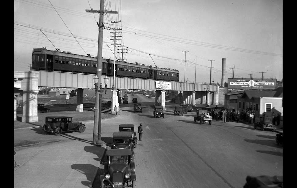 1927: A Pacific Electric Red Car sits on the new Pico Street viaduct.