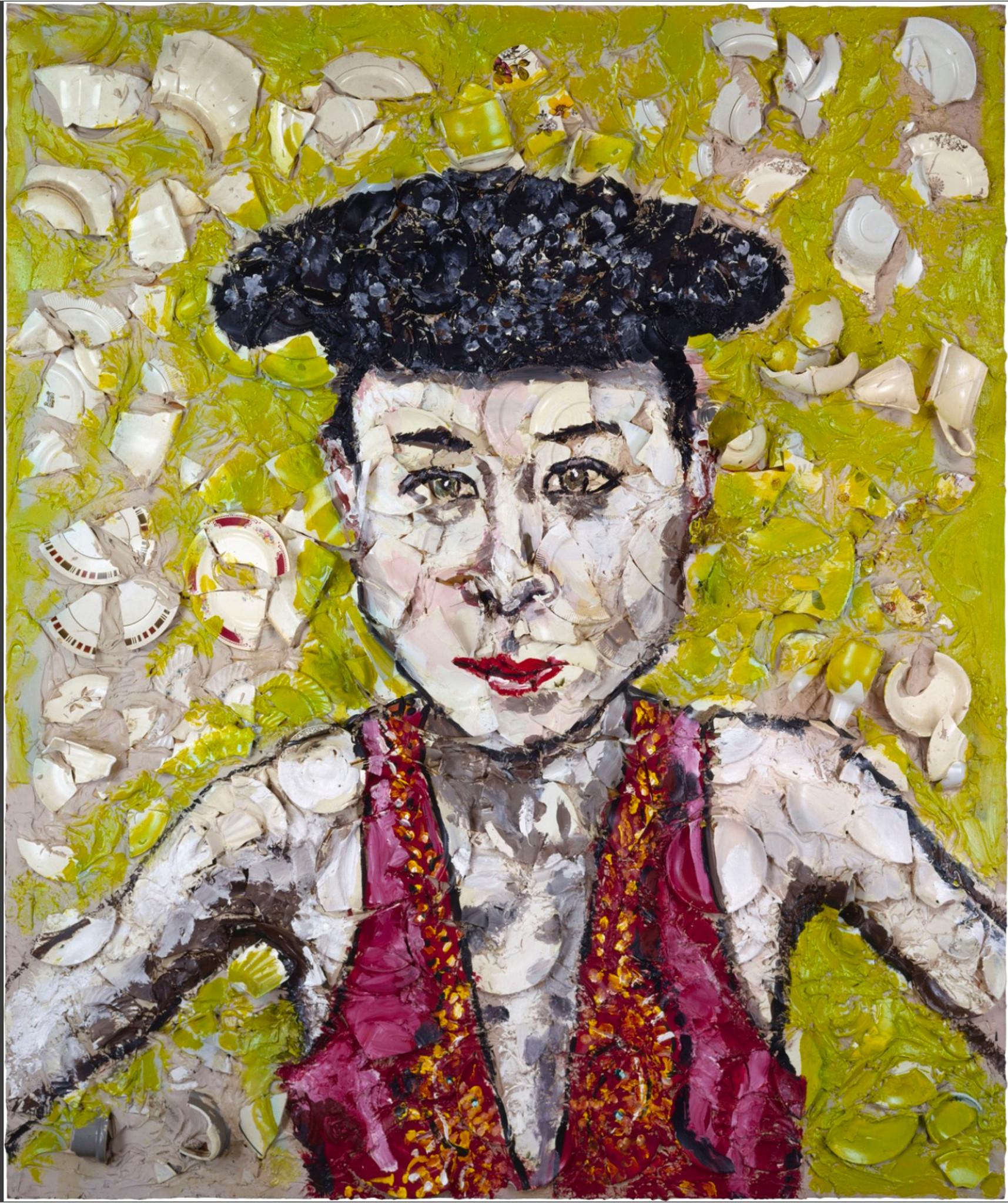 "Julian Schnabel's painting, ""Tina in a matador hat"""