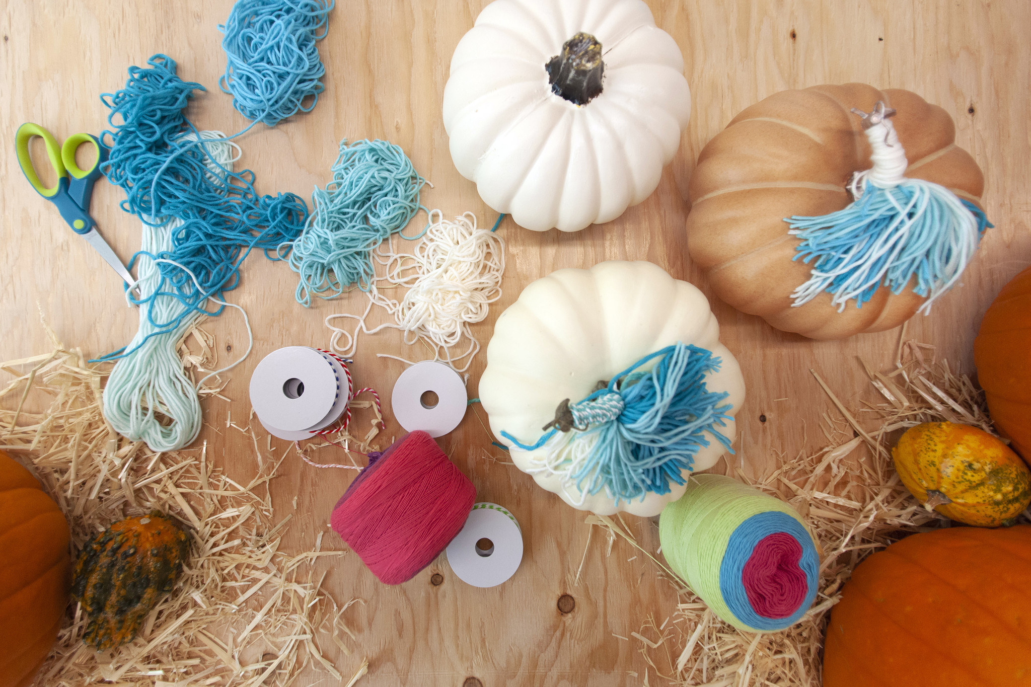 Unicorn yarn pumpkins.