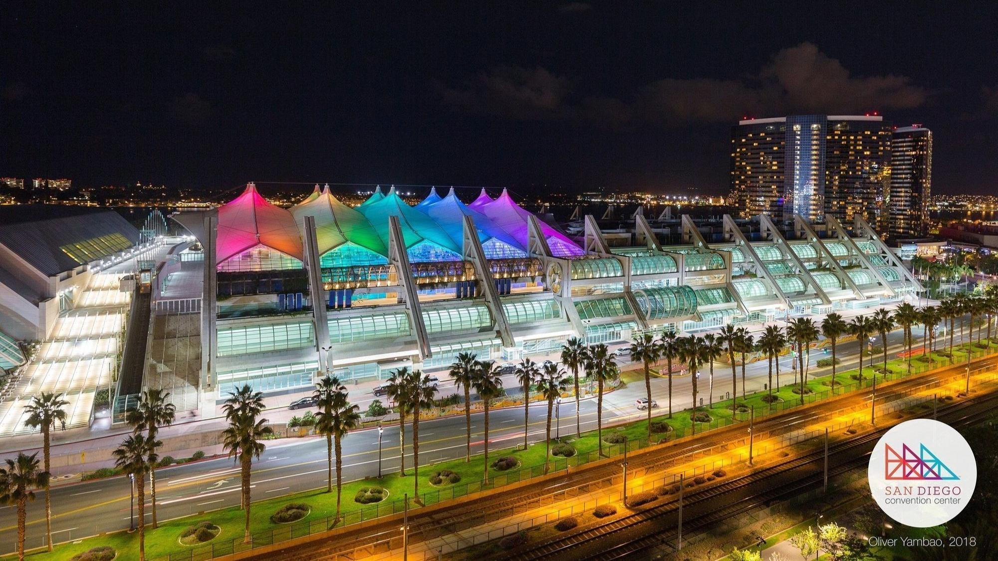 flipboard why the san diego convention center is turning purple this week. Black Bedroom Furniture Sets. Home Design Ideas