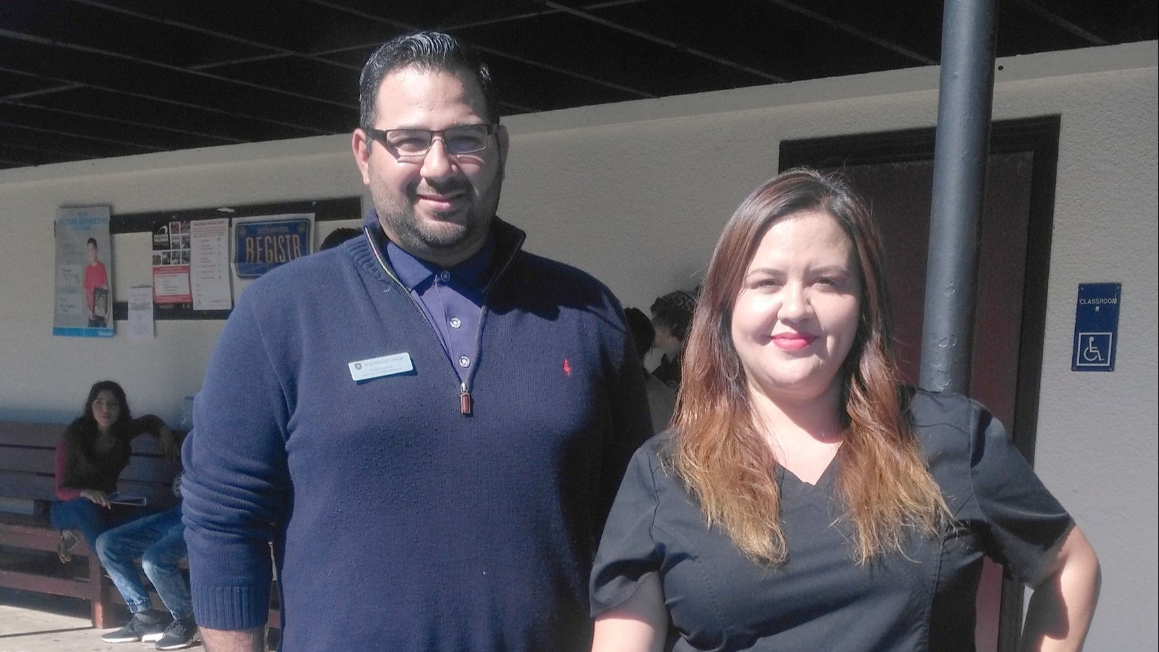 Brightwood College Admissions Representative Rafael Guzman and Pharmacy Technician Instructor Melisa Salazar display tools for training students in a variety of medical careers.