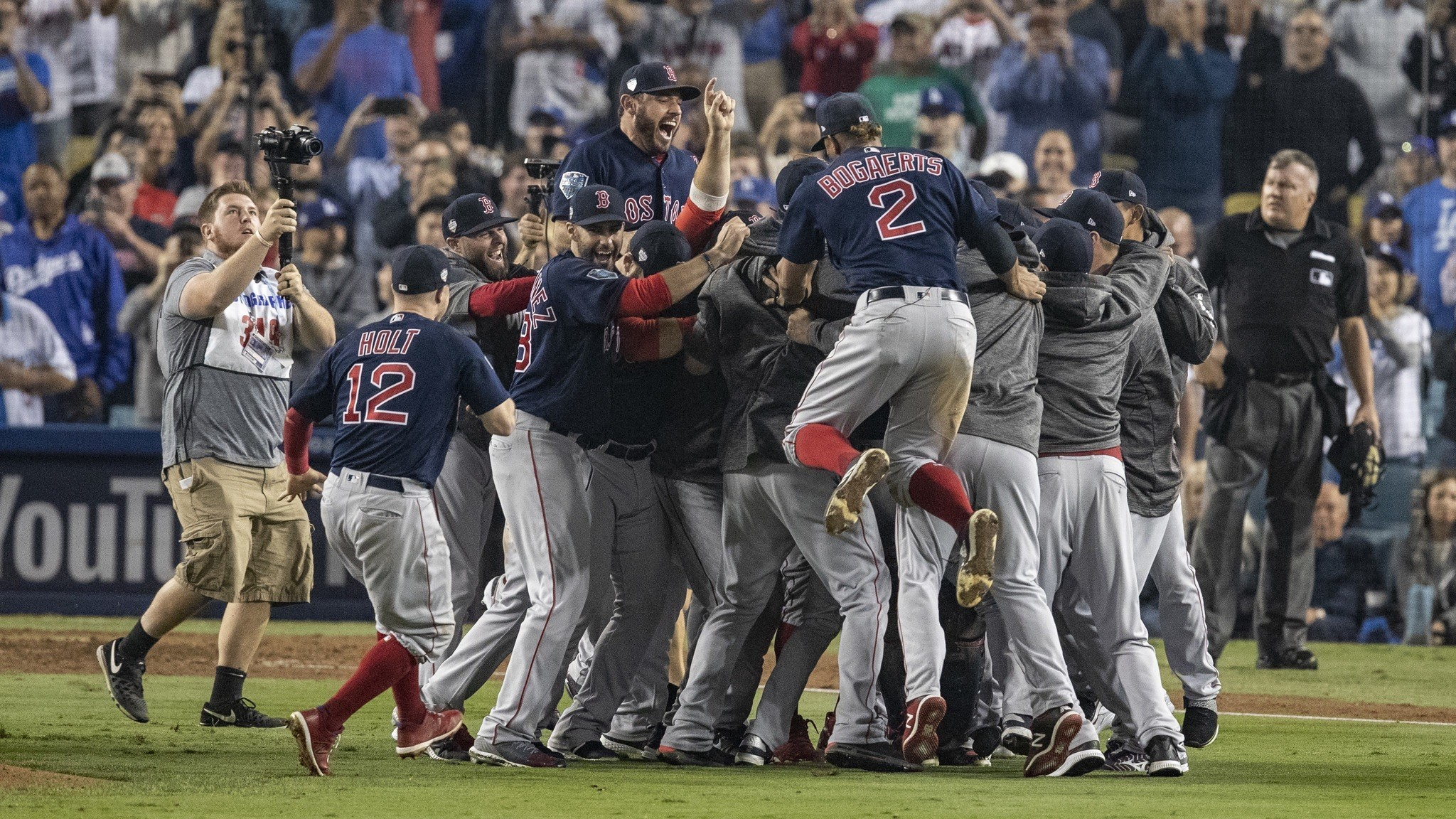 LOS ANGELES, CA - OCTOBER 28, 2018: Boston Red Sox celebrate a 5-1 win over the Dodgers to win the W