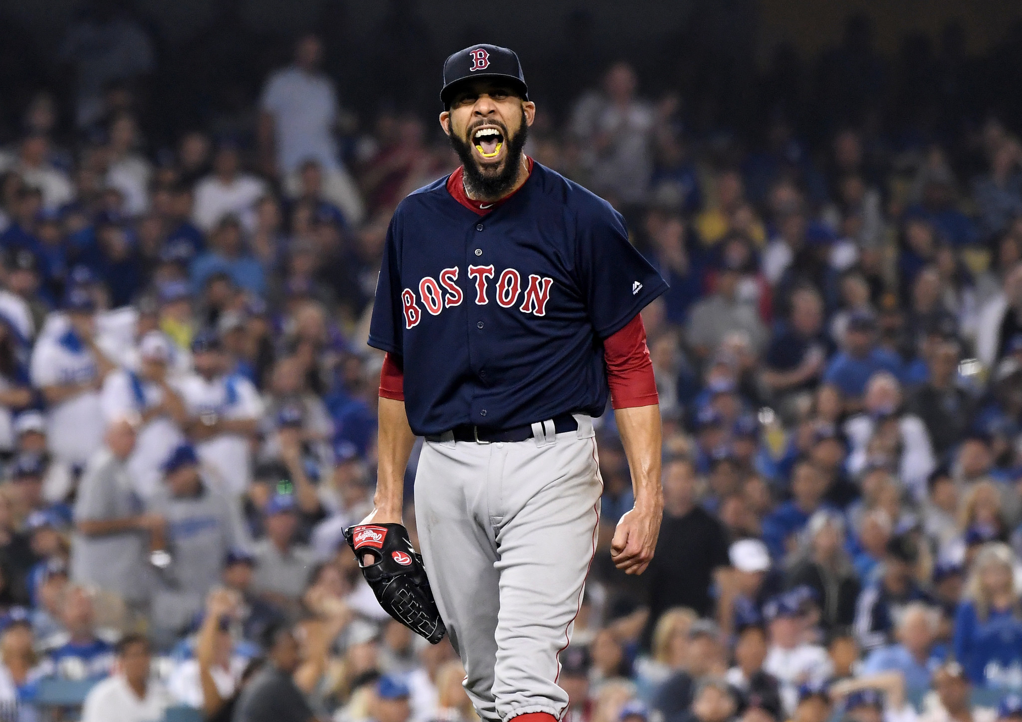 LOS ANGELES, CALIFORNIA , OCTOBER 28, 2018-Red Sox pitcher David Price reacts after getting Dodgers