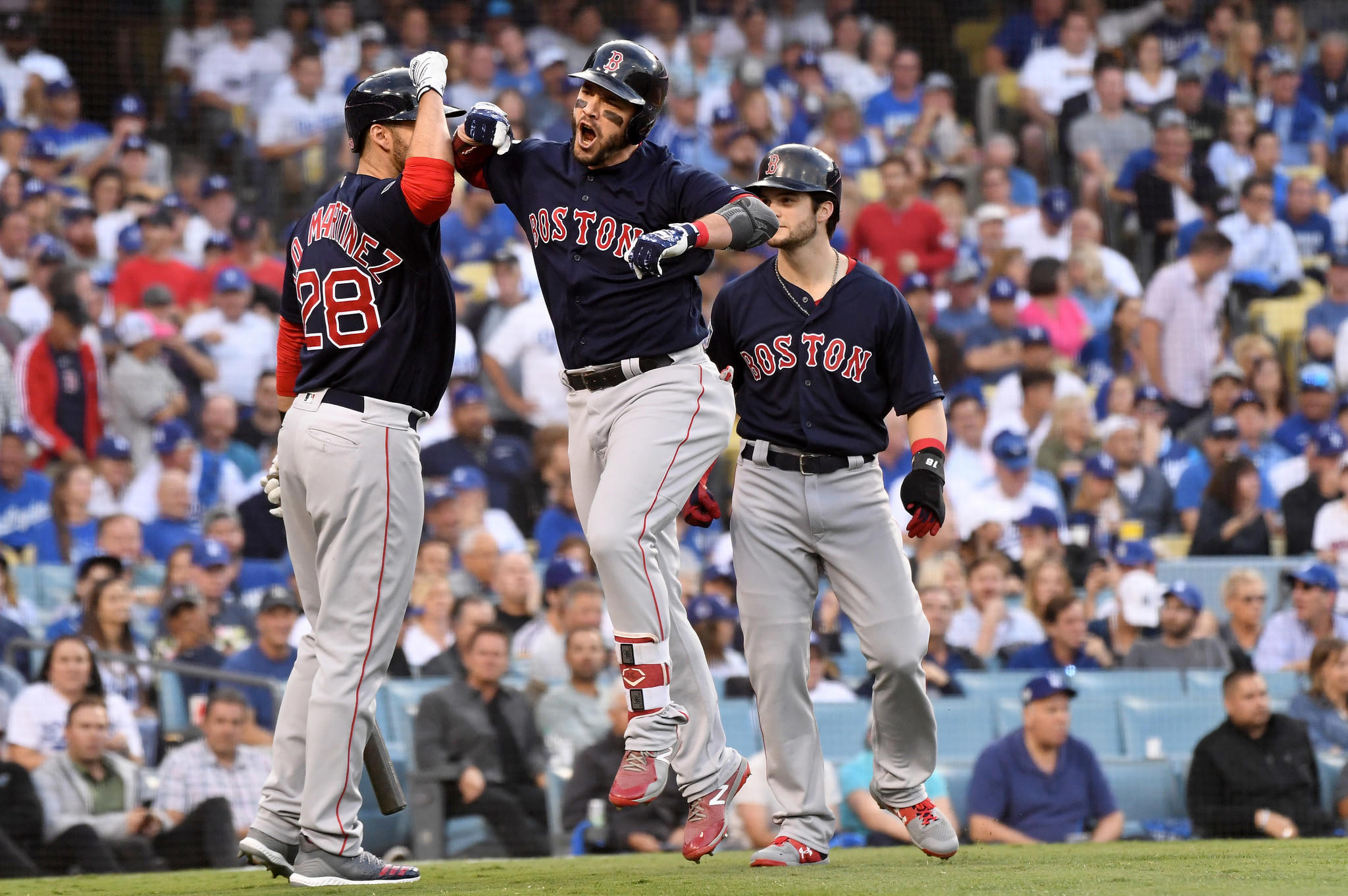 a4b55becd Steve Pearce, center, celebrates his two-run home run against the Dodgers in  the 1st inning. (Wally Skalij / Los Angeles Times) ...