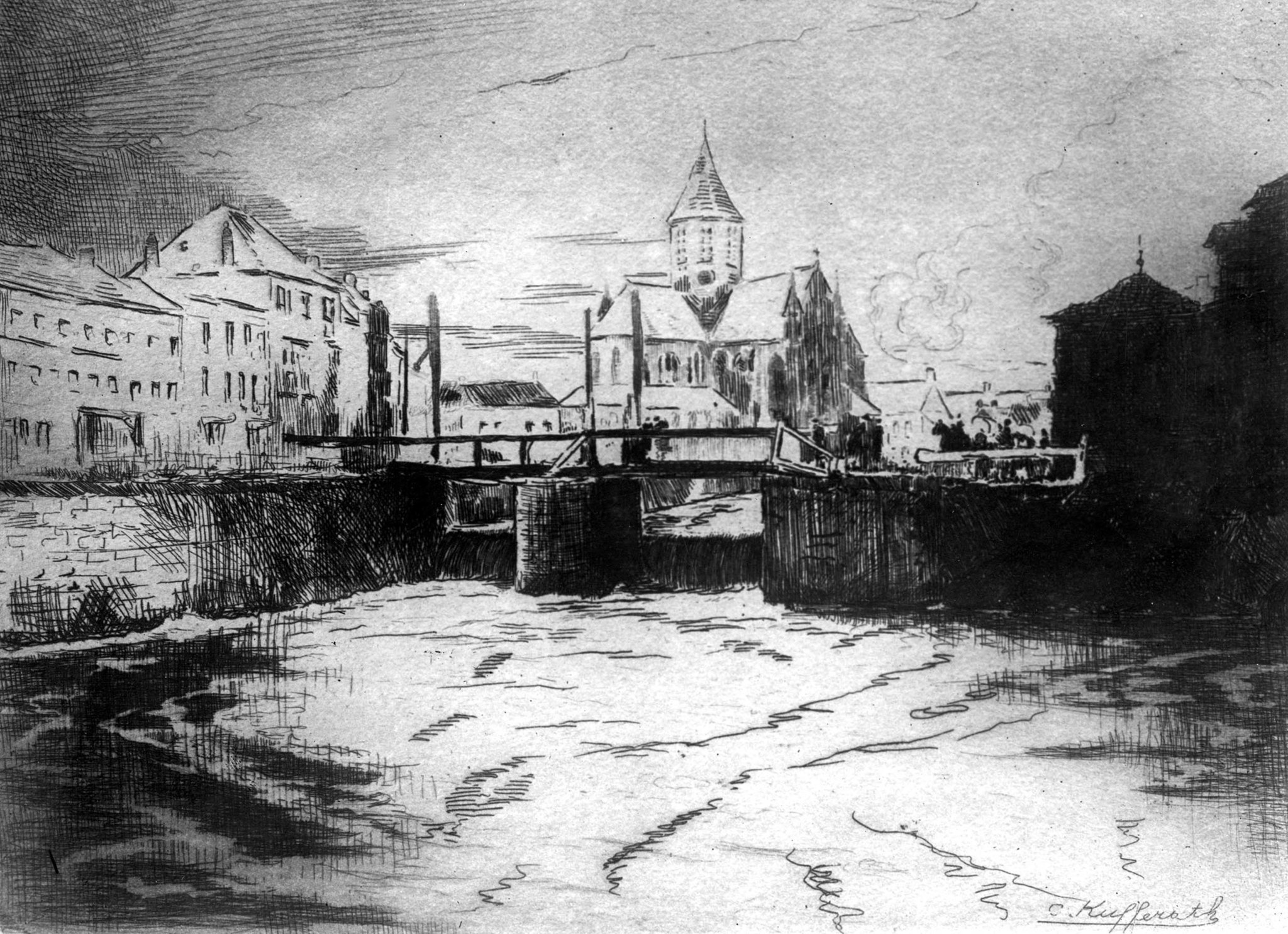 1918: Artist drawing showing Company E, 316th Engineers, bridge built in Andenarde, (now Oudenaarde)