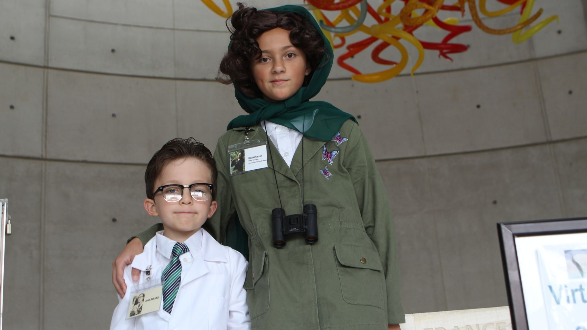 Xavier Kelso, 5, and his sister Sophia, 10 — students at St. Martin of Tours Academy — came as Dr. Jonas Salk and Rachel Carson, author of the book 'Silent Spring.'
