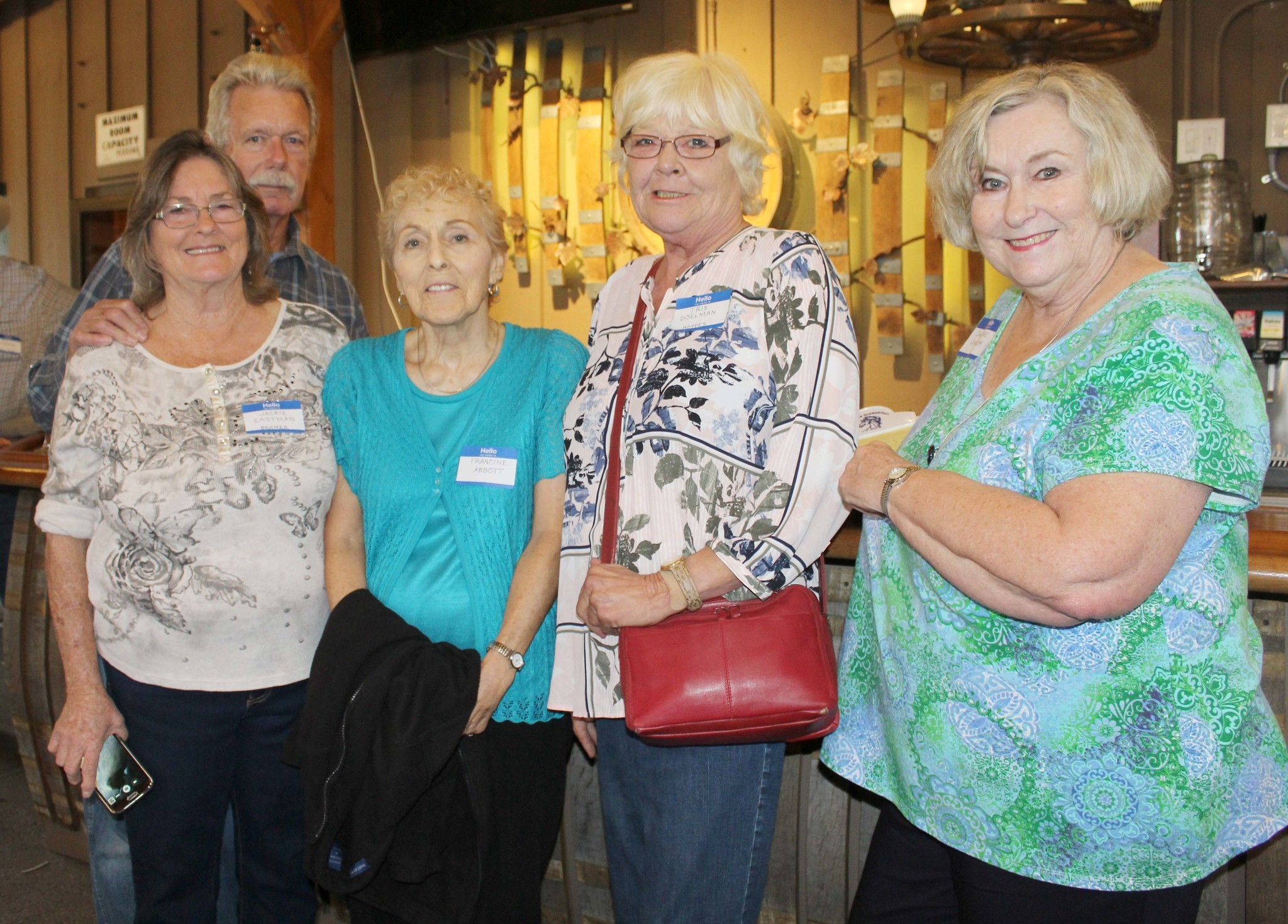 From left, Jackie Eastman Bramer, Ted Bramer, Francine Abbott, Trix Doleman Hoppes and Ona Rae Ransom are among the 27 Ramona High Class of 1968 graduates at the reunion.